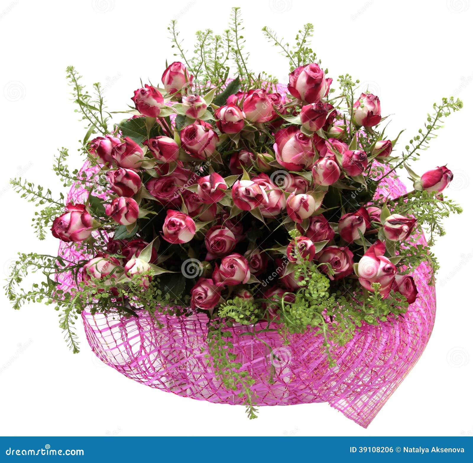 Boeket van bloemen op witte achtergrond worden geïsoleerd die. Rozen