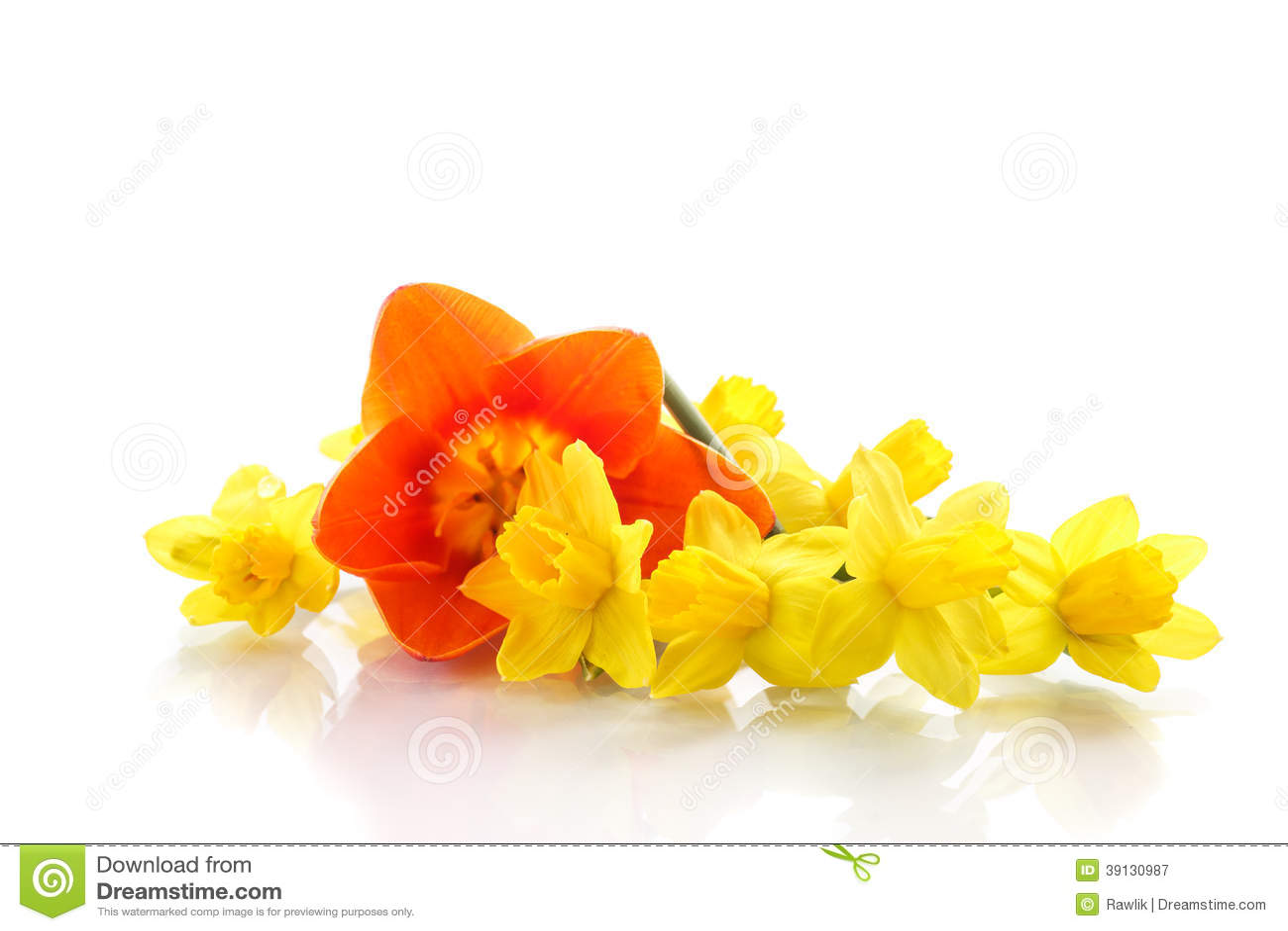 Boeket van gele gele narcissen met kleine tulpen