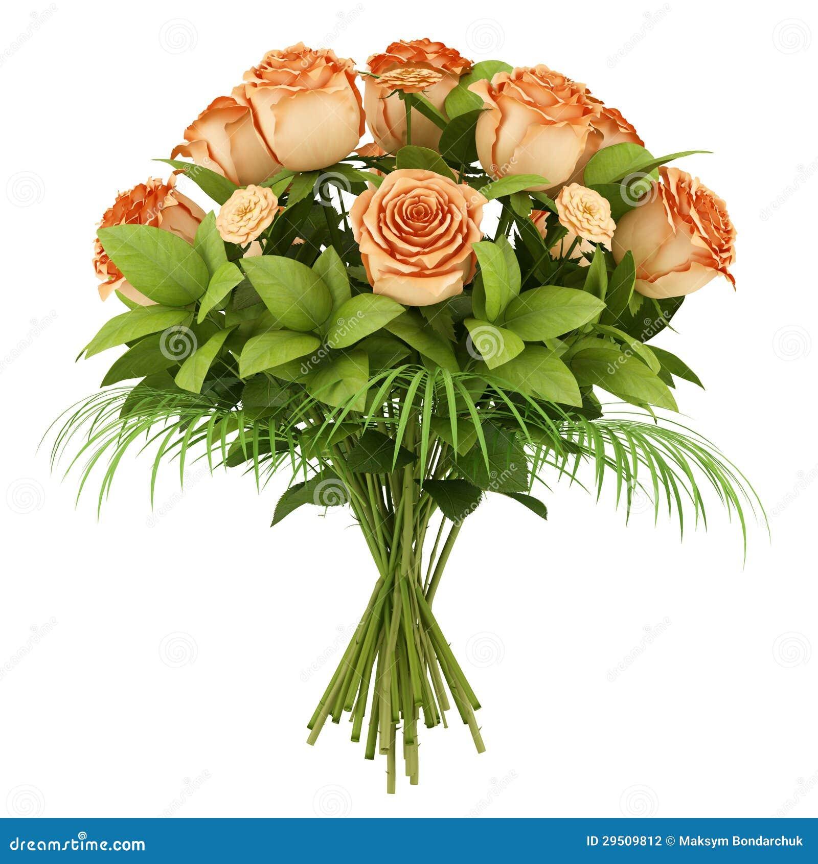 Boeket van oranje rozen die op wit worden geïsoleerde