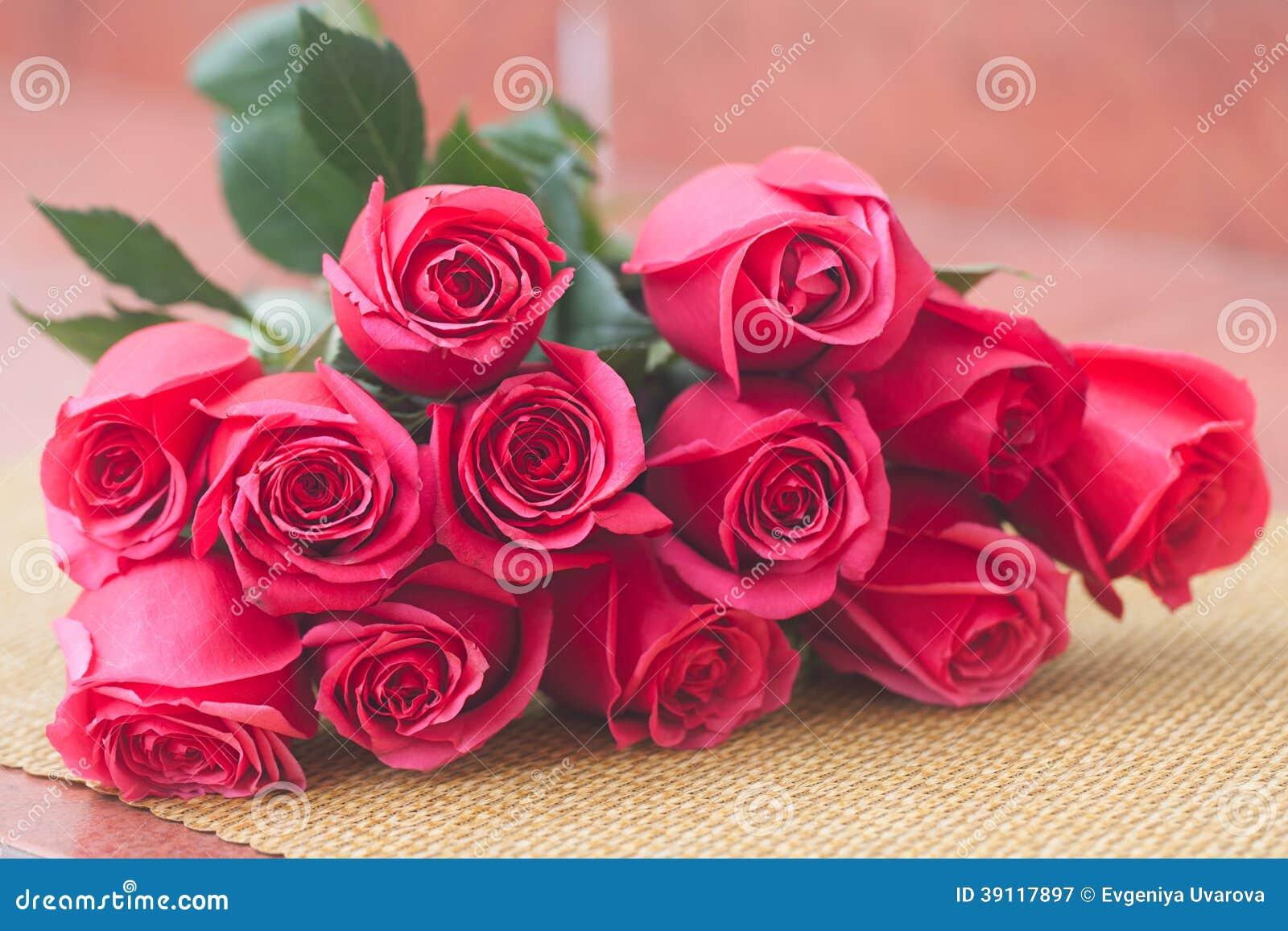 Boeket van roze rozen