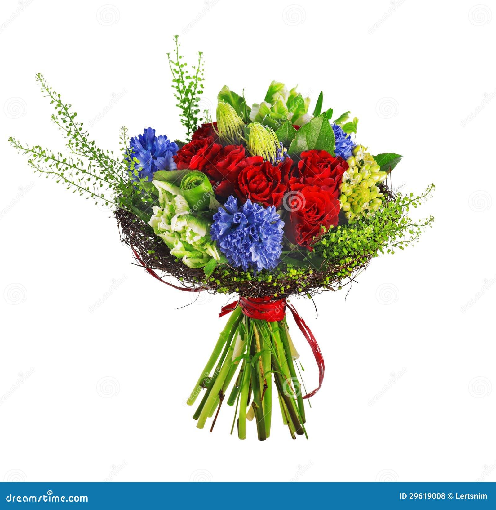 Boeket van rozen, hyacinthus en greens