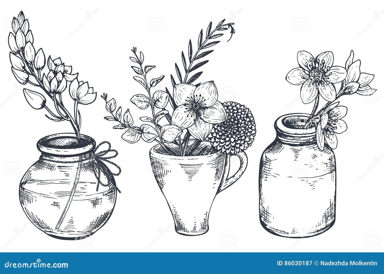 Boeketten met hand getrokken bloemen en installaties in vazenkruiken