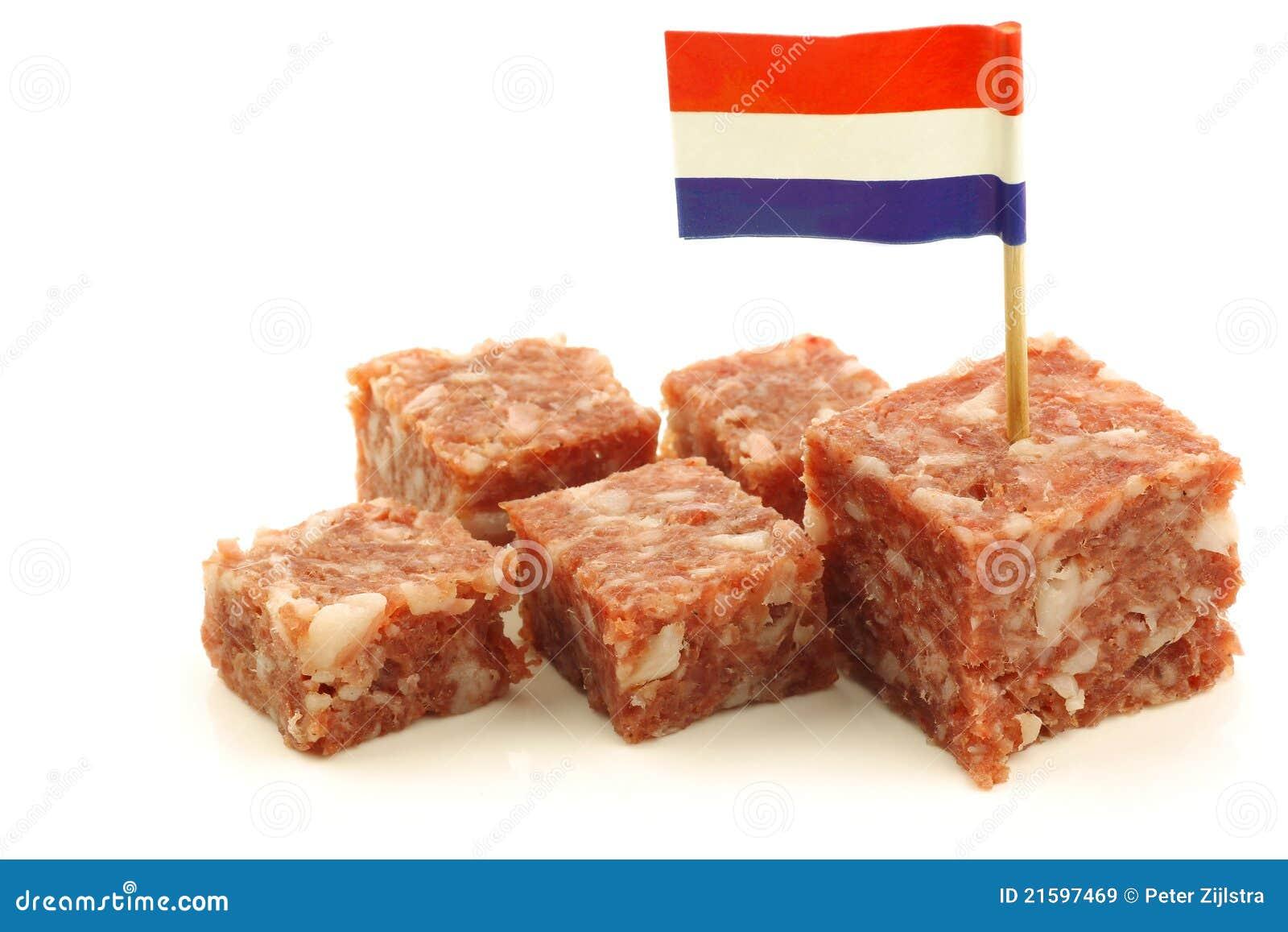 Boerenmetworst avec un toothpick hollandais d indicateur