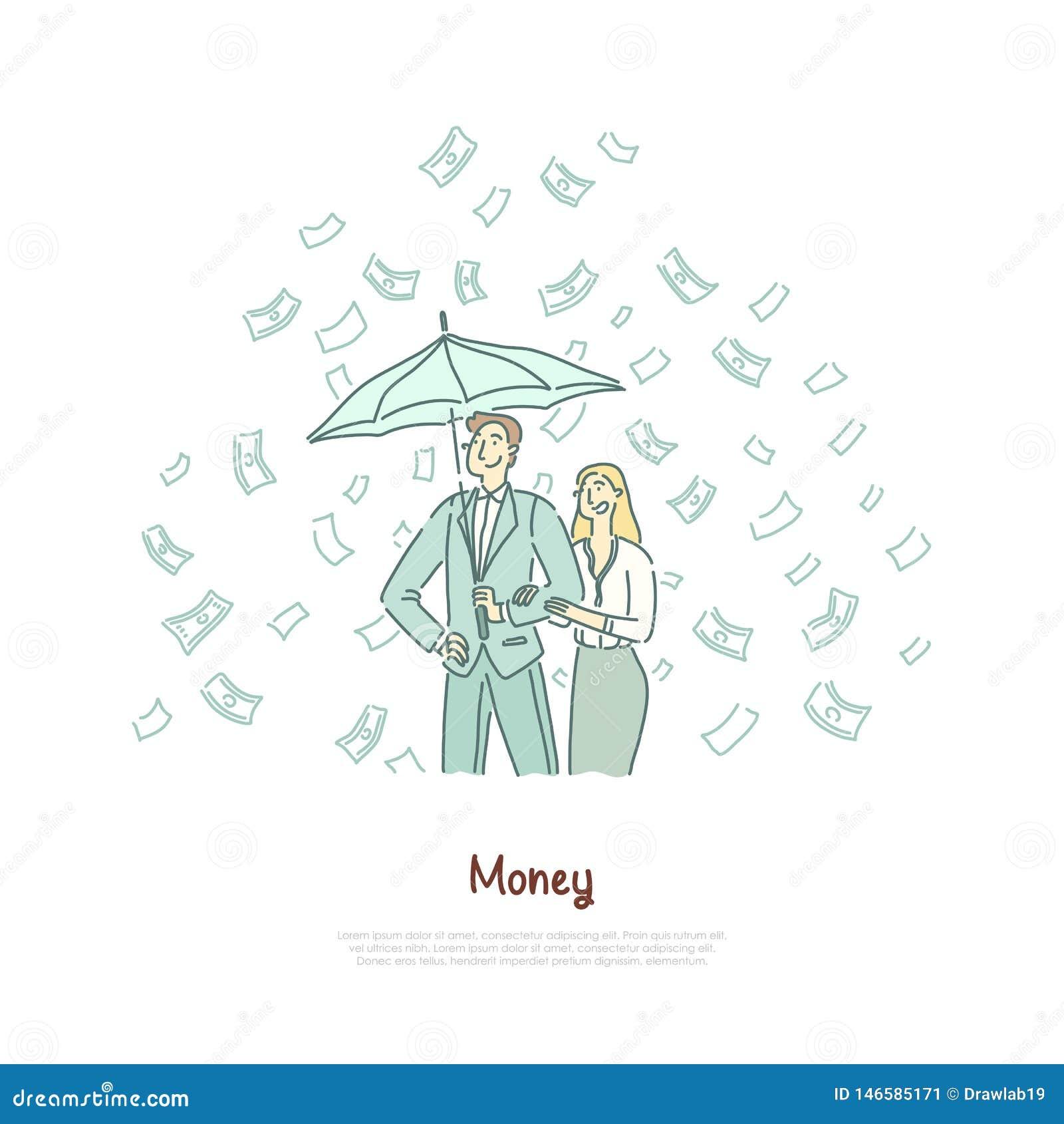 Bogata para z parasolem, pomyślna przedsiębiorczość, zyskowna inwestycja, pieniężna piśmienność, loteryjny sztandar