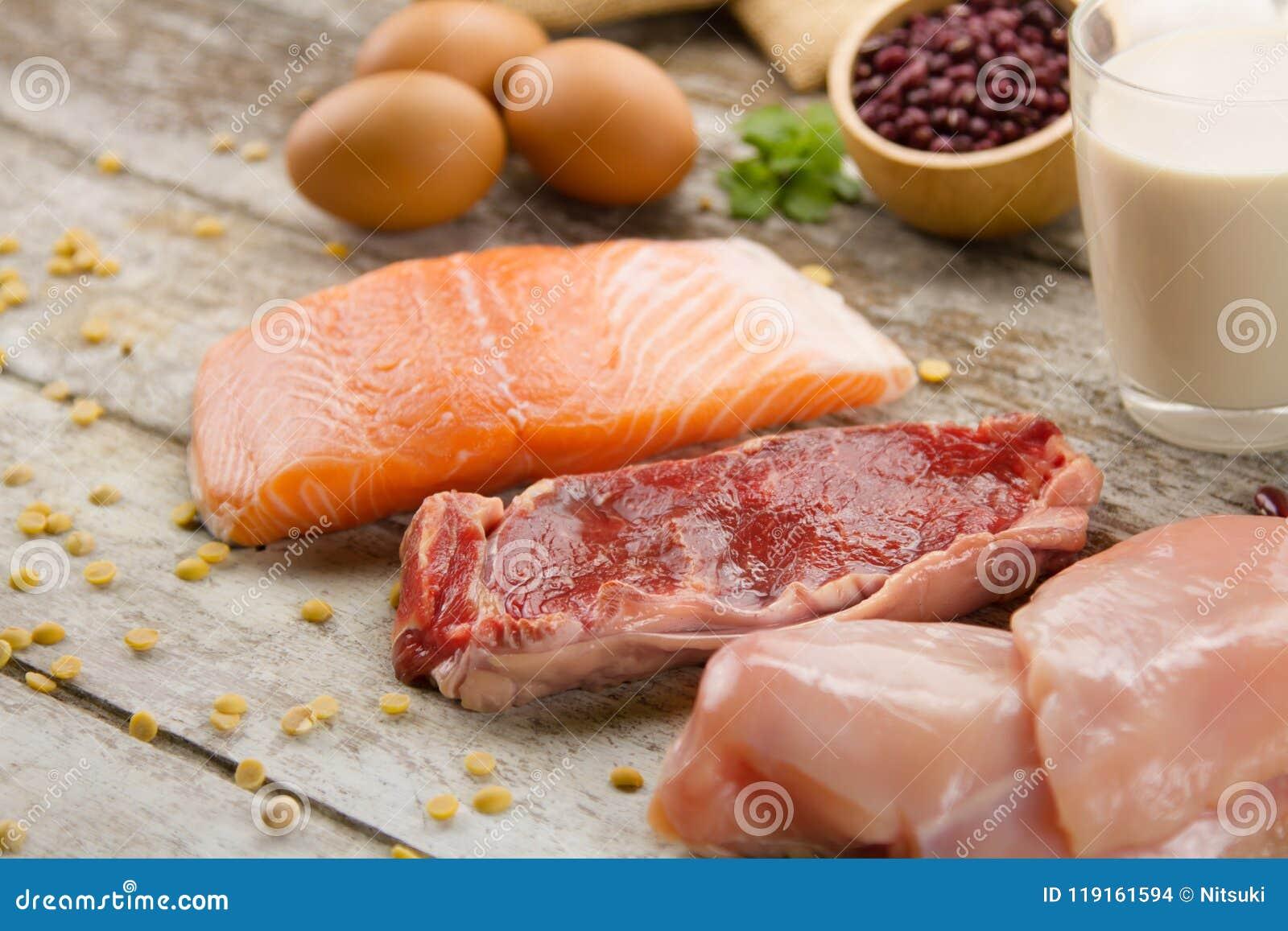 Bogaty odżywki jedzenie ryba, mięso, jajka i mleko,