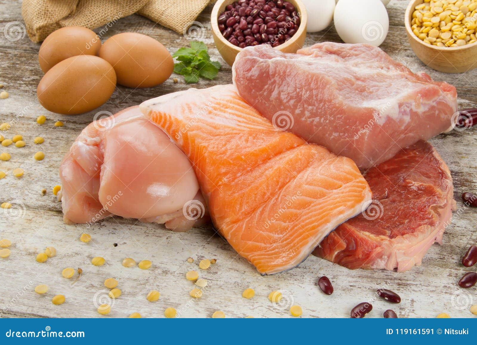 Bogaty odżywki jedzenie rybi kurczaka i mięsa proteiny źródło