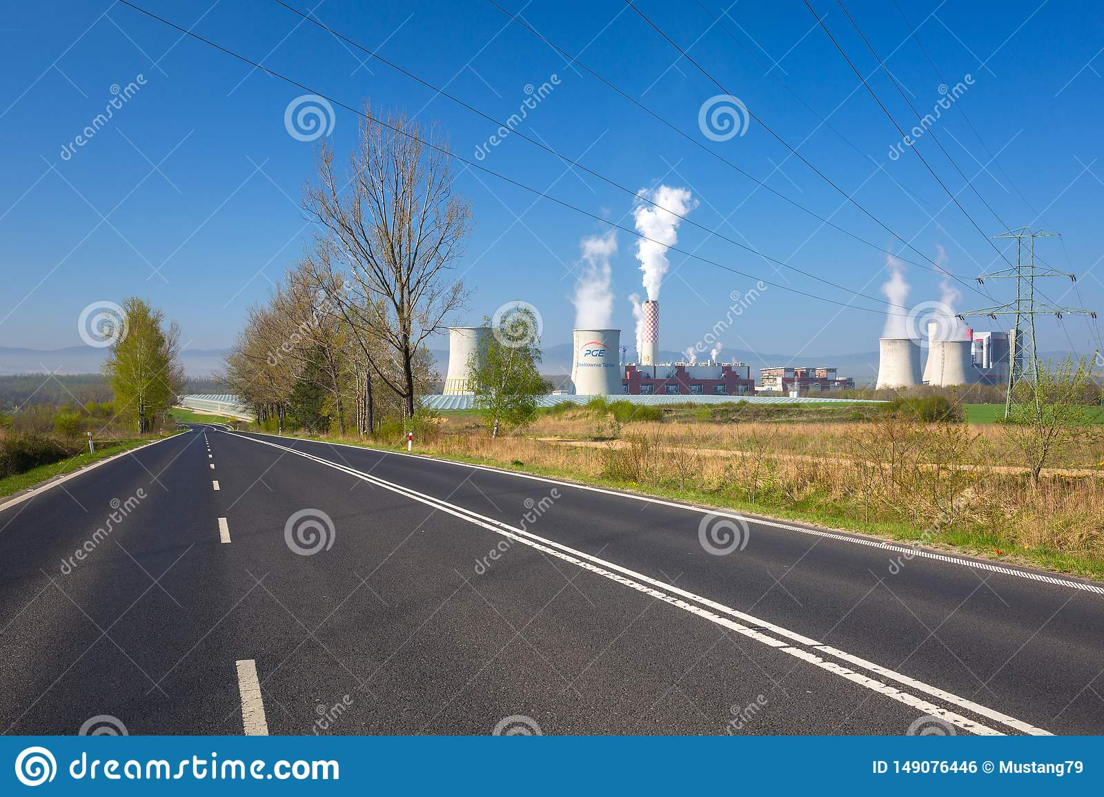 Bogatynia, Poland - April 20, 2019: Turow Thermal Power Station in Bogatynia, Poland. This is the modern brown coal thermal power