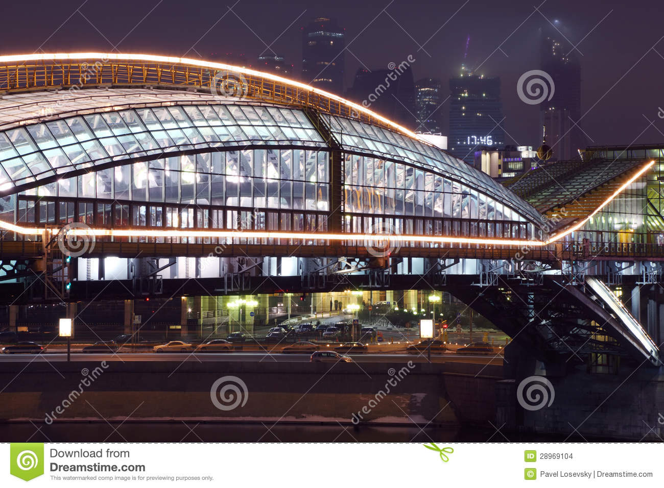 Bridge and view of business complex moscow-city at night in moscow