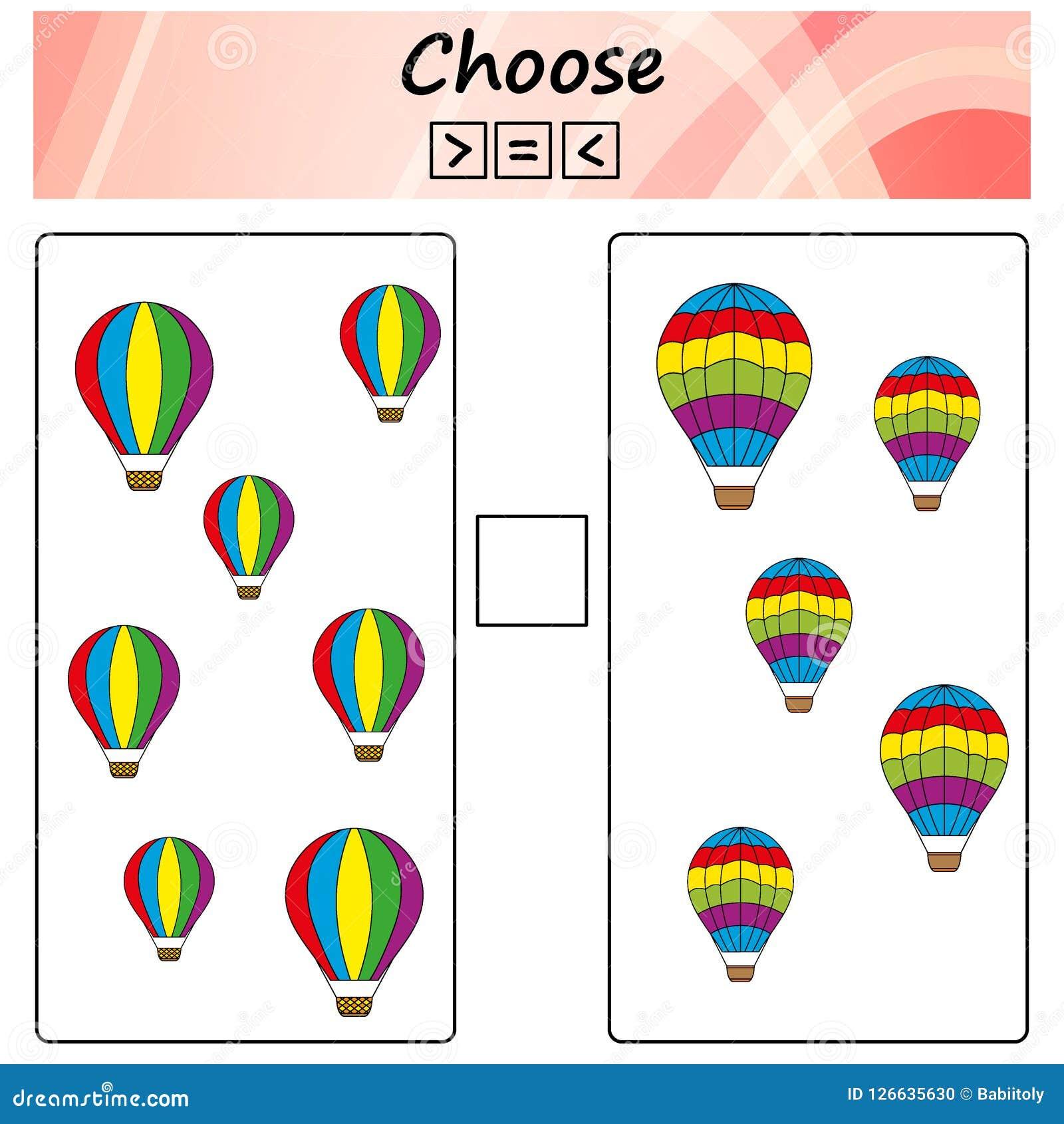 Bogen Spiel für Kinder - wählen Sie mehr, weniger oder Gleichgestelltes Lernen von Mathematik, Zahlen Aufgaben für Vorschulkinder