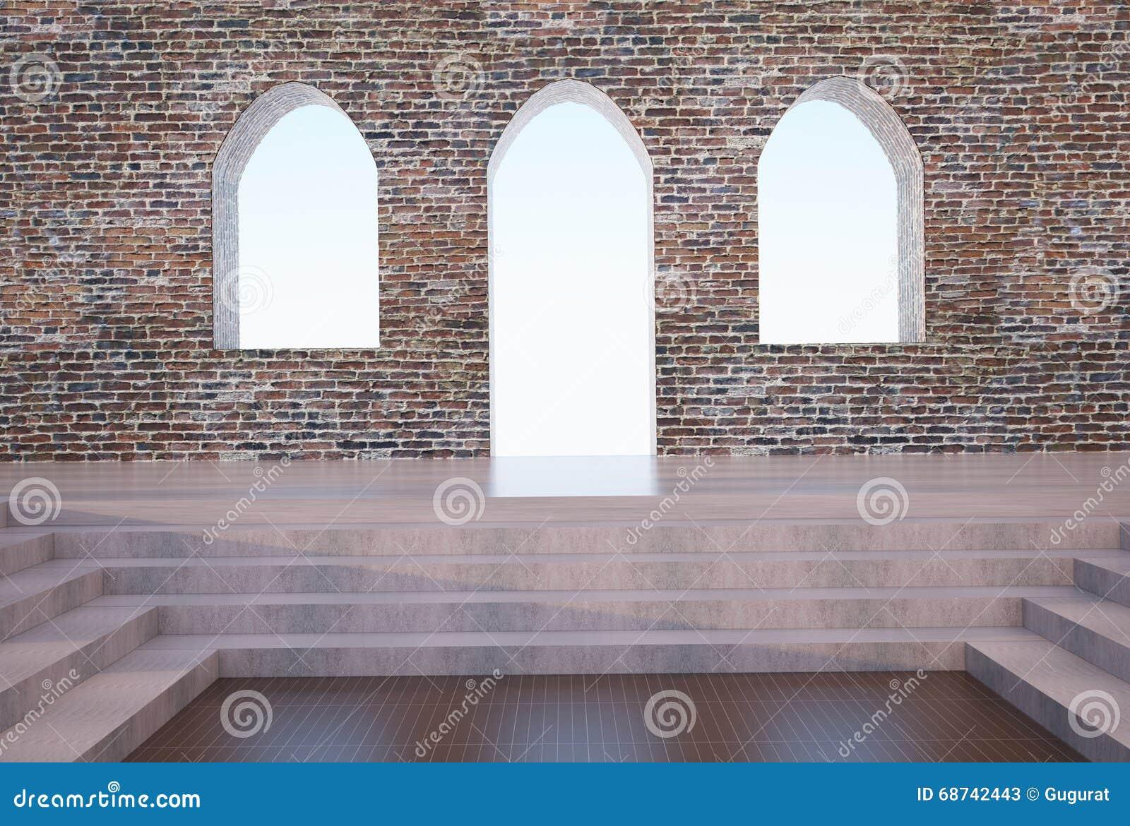 Bogen und Backsteinmauer gotisch