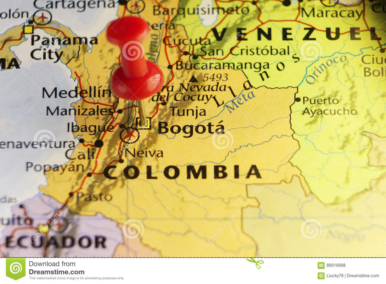 Bogota Capital Of Colombia, Pinned Map Stock Illustration ...