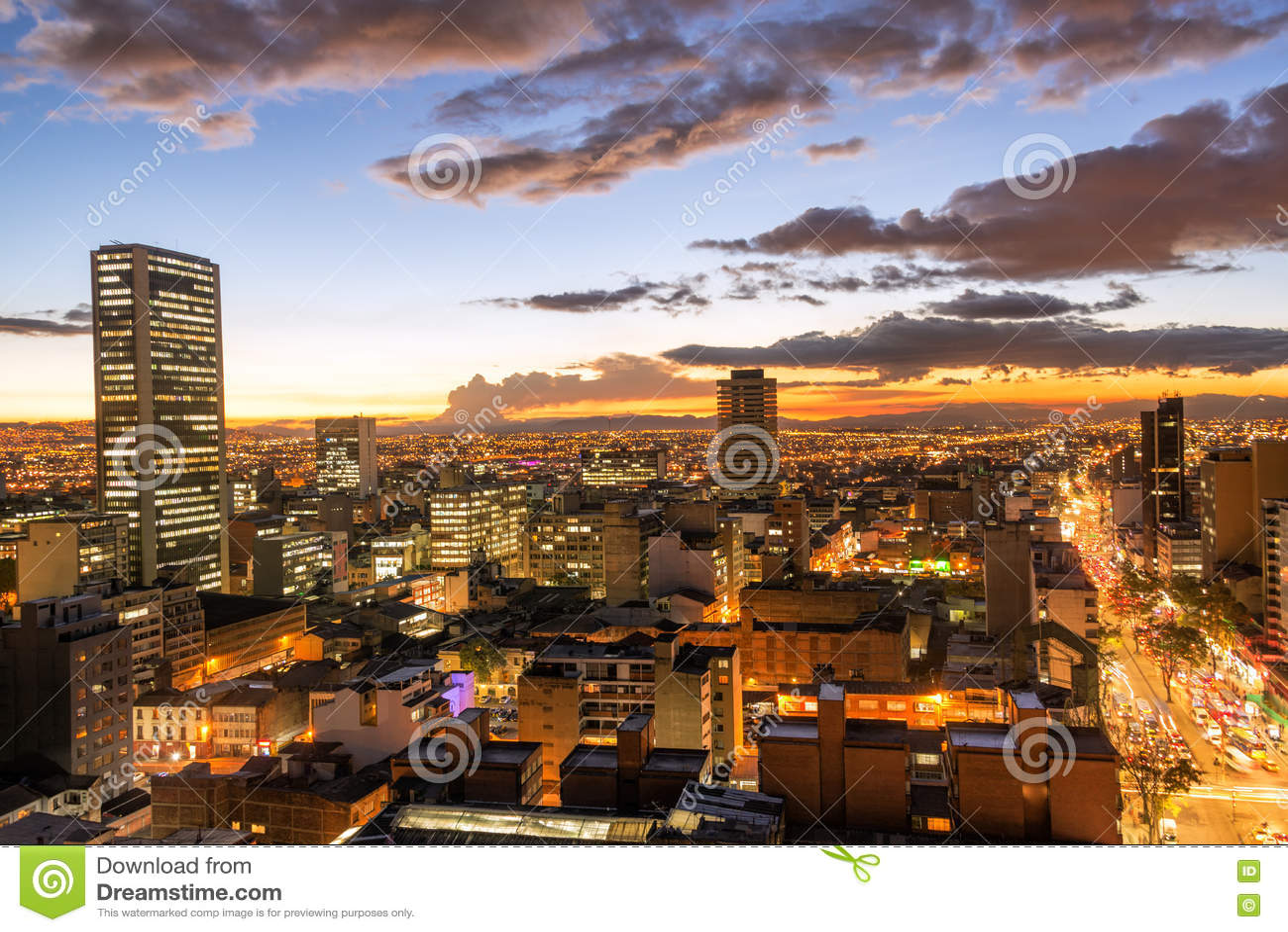 Bogota, Colombia at Dusk