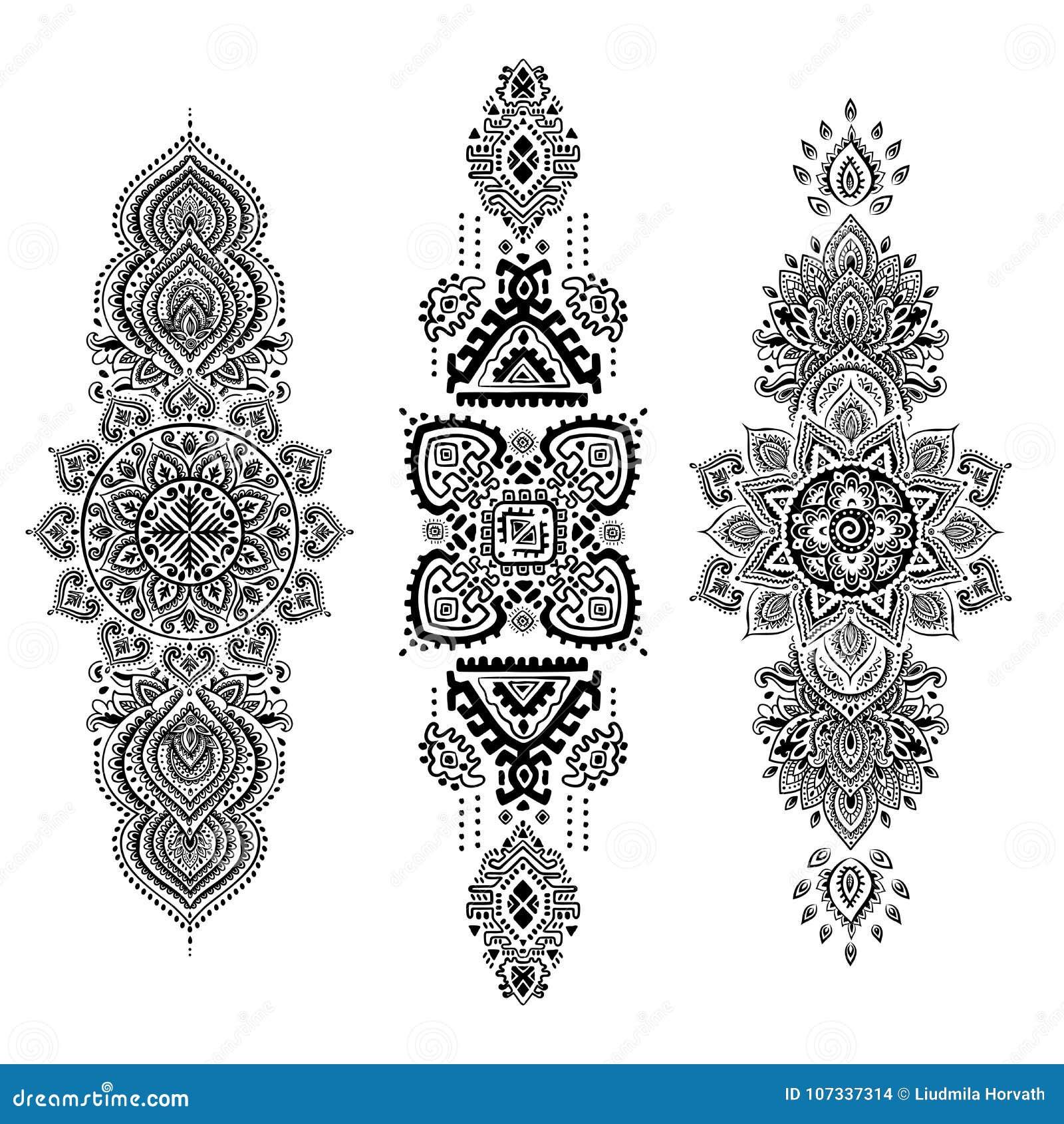 Boheemse Indische Mandala-druk De uitstekende stijl van de Hennatatoegering