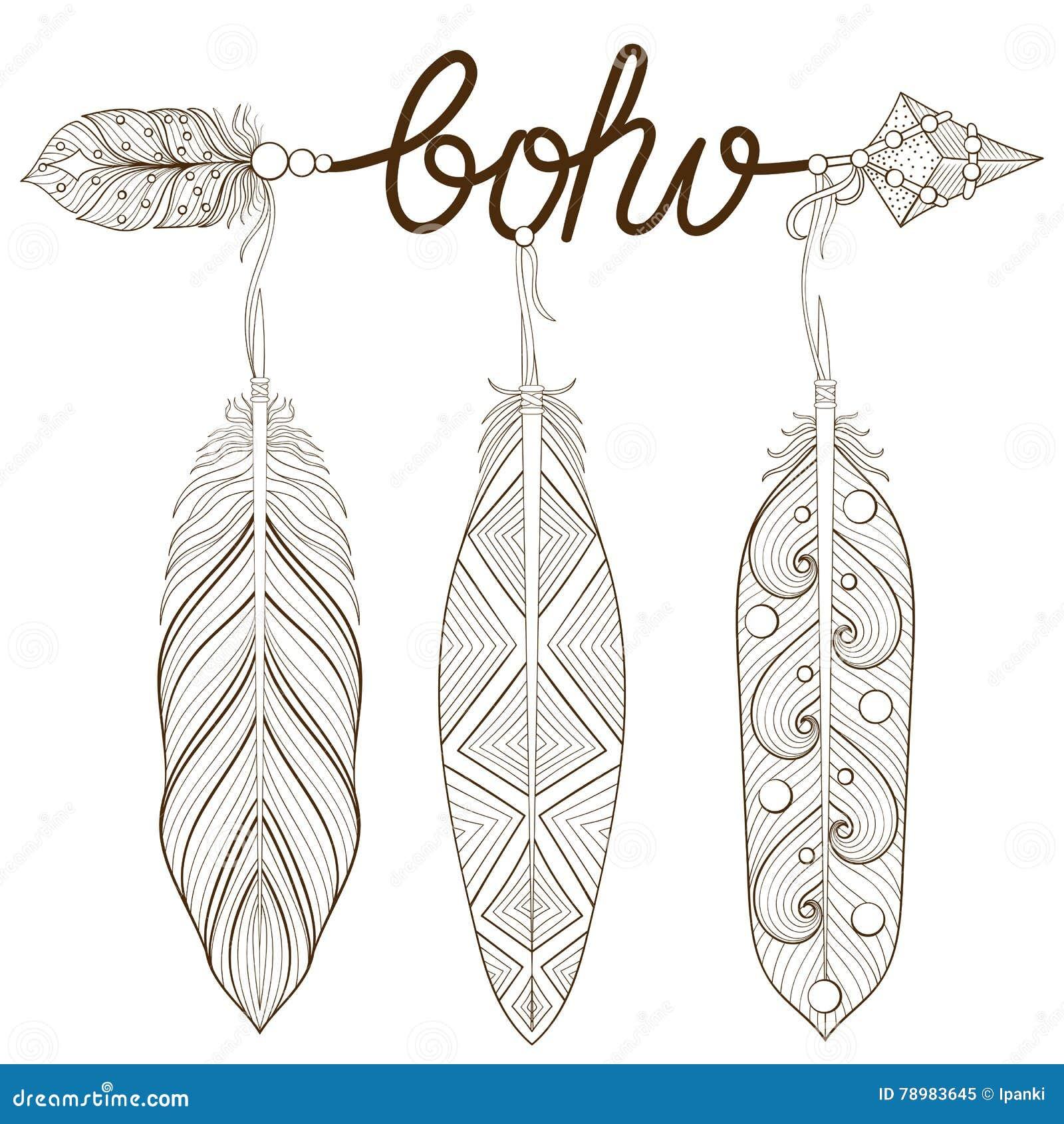 Feathers And Arrows Boho Style Frame Cartoon Vector