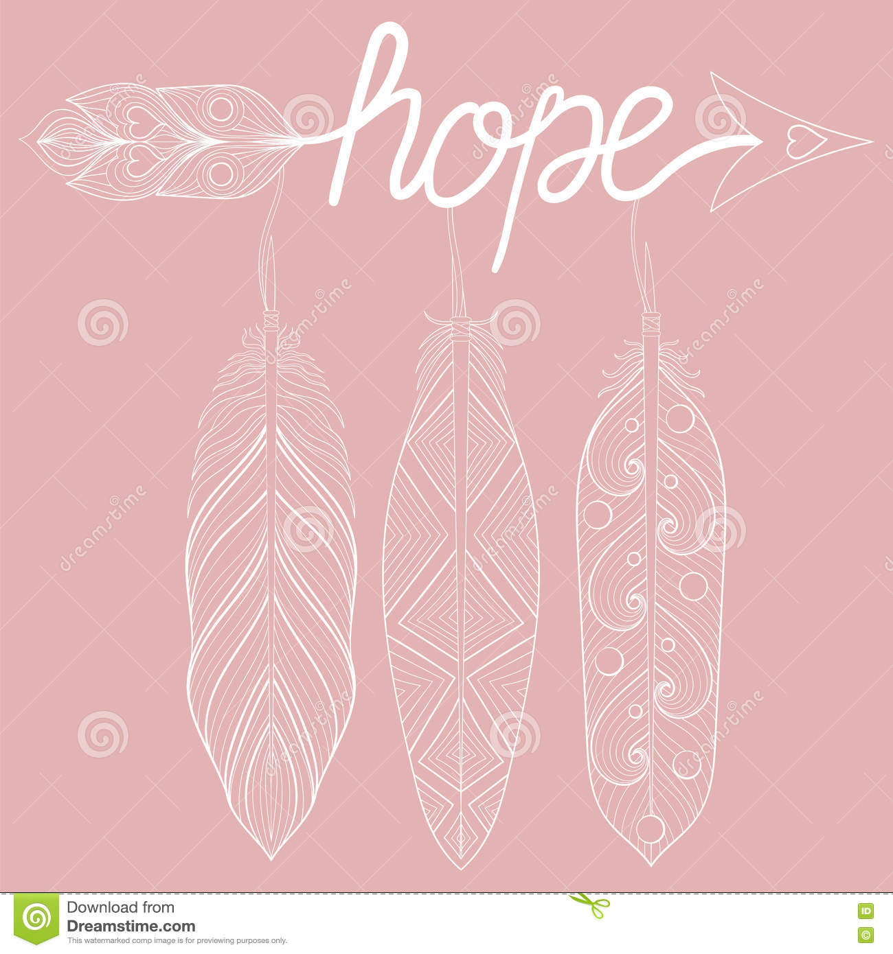 Bohemian Arrow On Pink Background Stock Vector - Illustration of ...