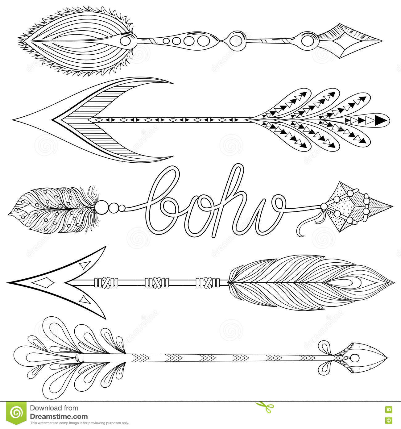 Bohemian Arrows Set With Feathers Hand Drawn Decorative