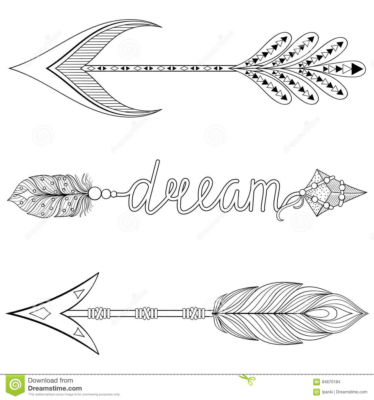 arrow coloring pages Bohemian Dream Arrows Set With Feathers For Adult Coloring Pages  arrow coloring pages