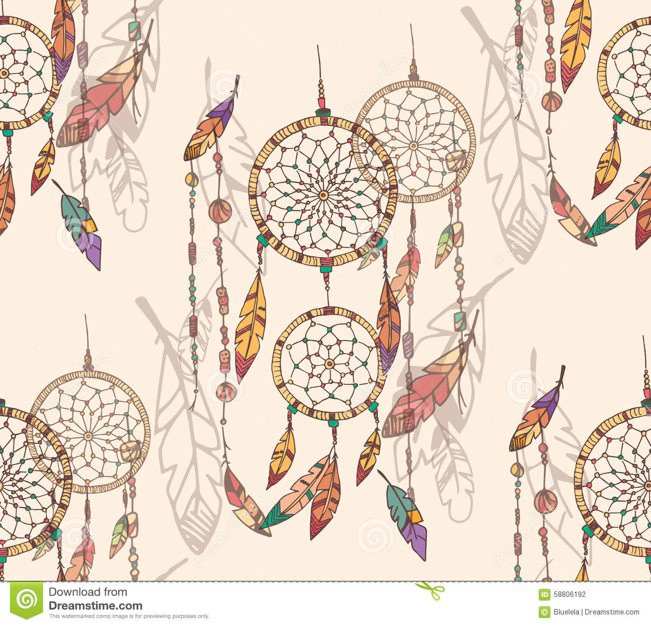 Bohemian Dream Catcher With Beads And Feathers Seamless Pattern Stock Vector Illustration Of Ethnic Elements 58806192
