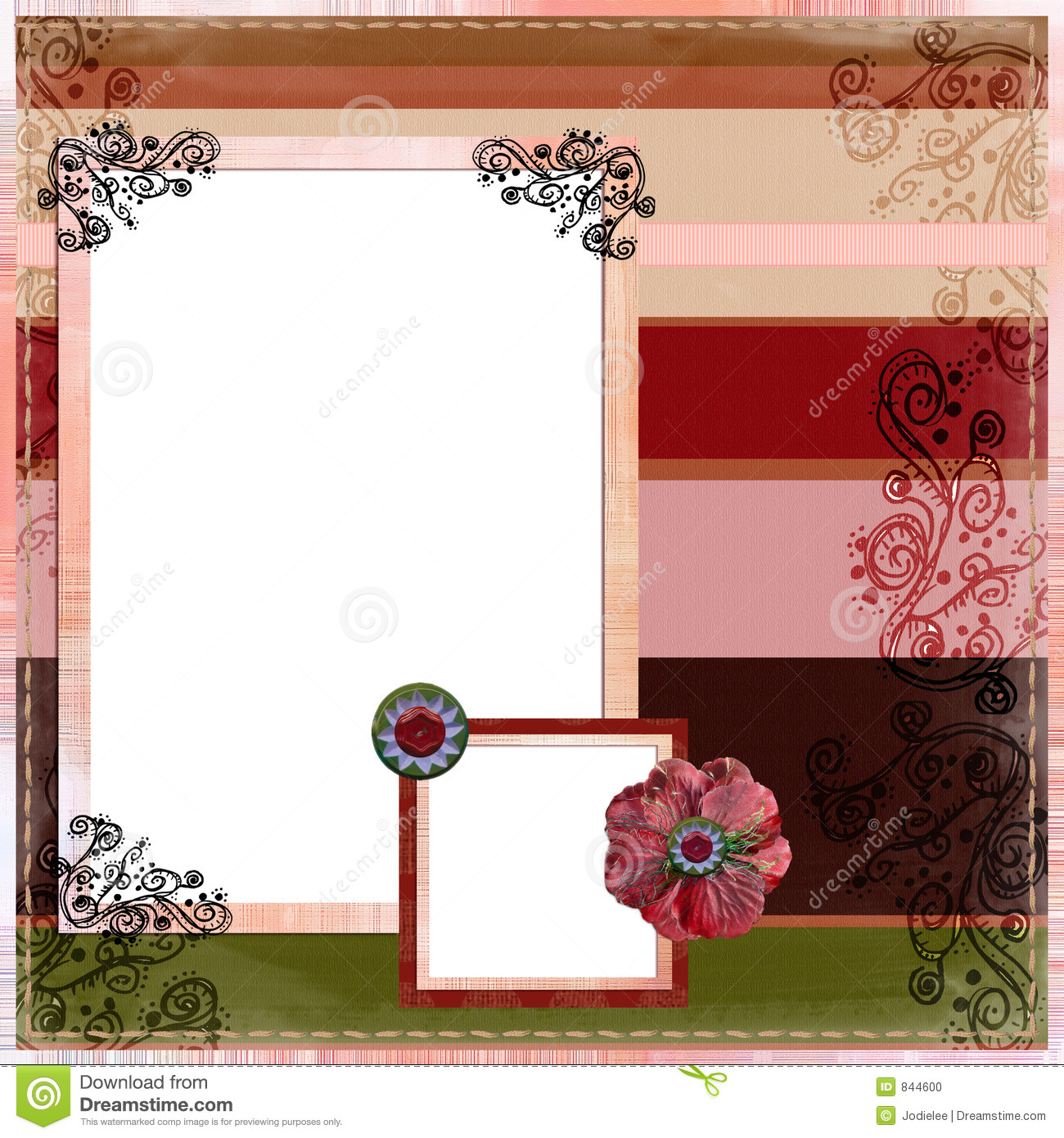 How to scrapbook 8x8 layouts - Bohemian Gypsy Scrapbook Album Page Layout