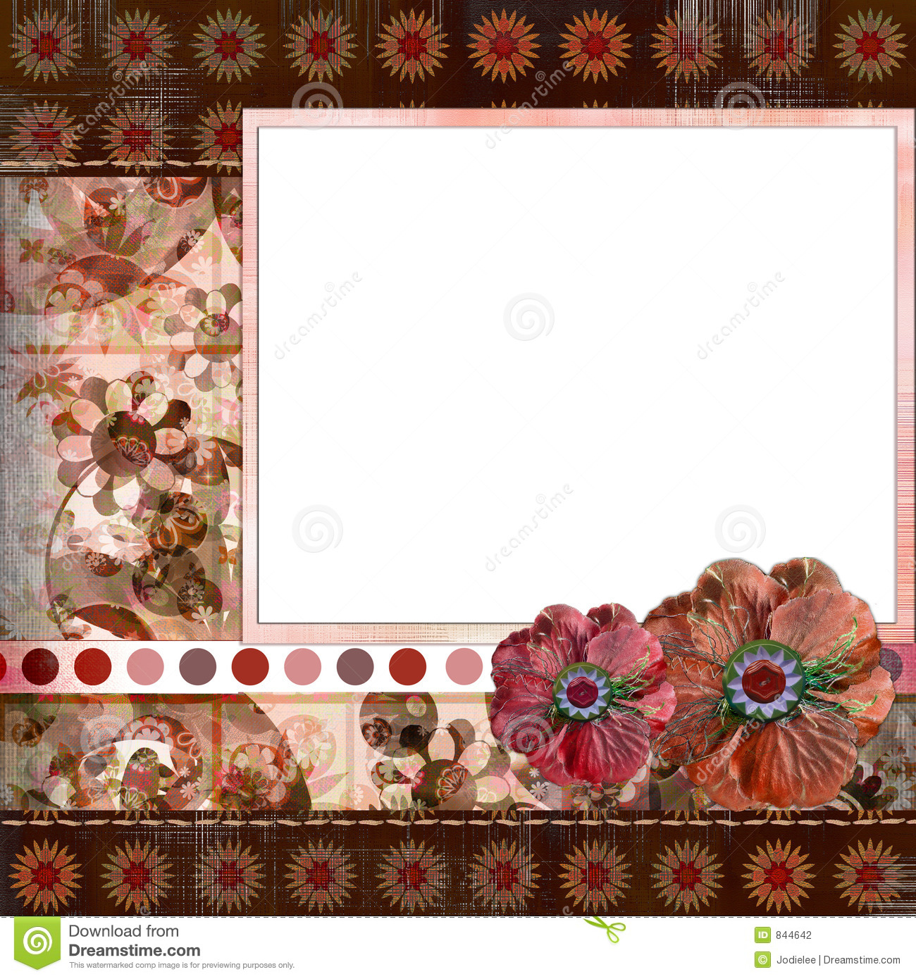 How to scrapbook 8x8 layouts - Bohemian Gypsy Style Scrapbook Album Page Layout 8x8 Inches