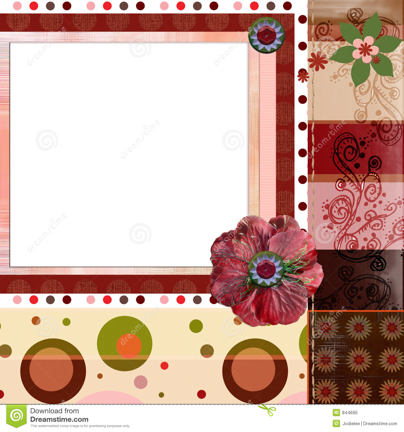 How to scrapbook 8x8 layouts - Bohemian Gypsy Style Scrapbook Album Page Layout 8x8 Inches Royalty Free Stock Photo