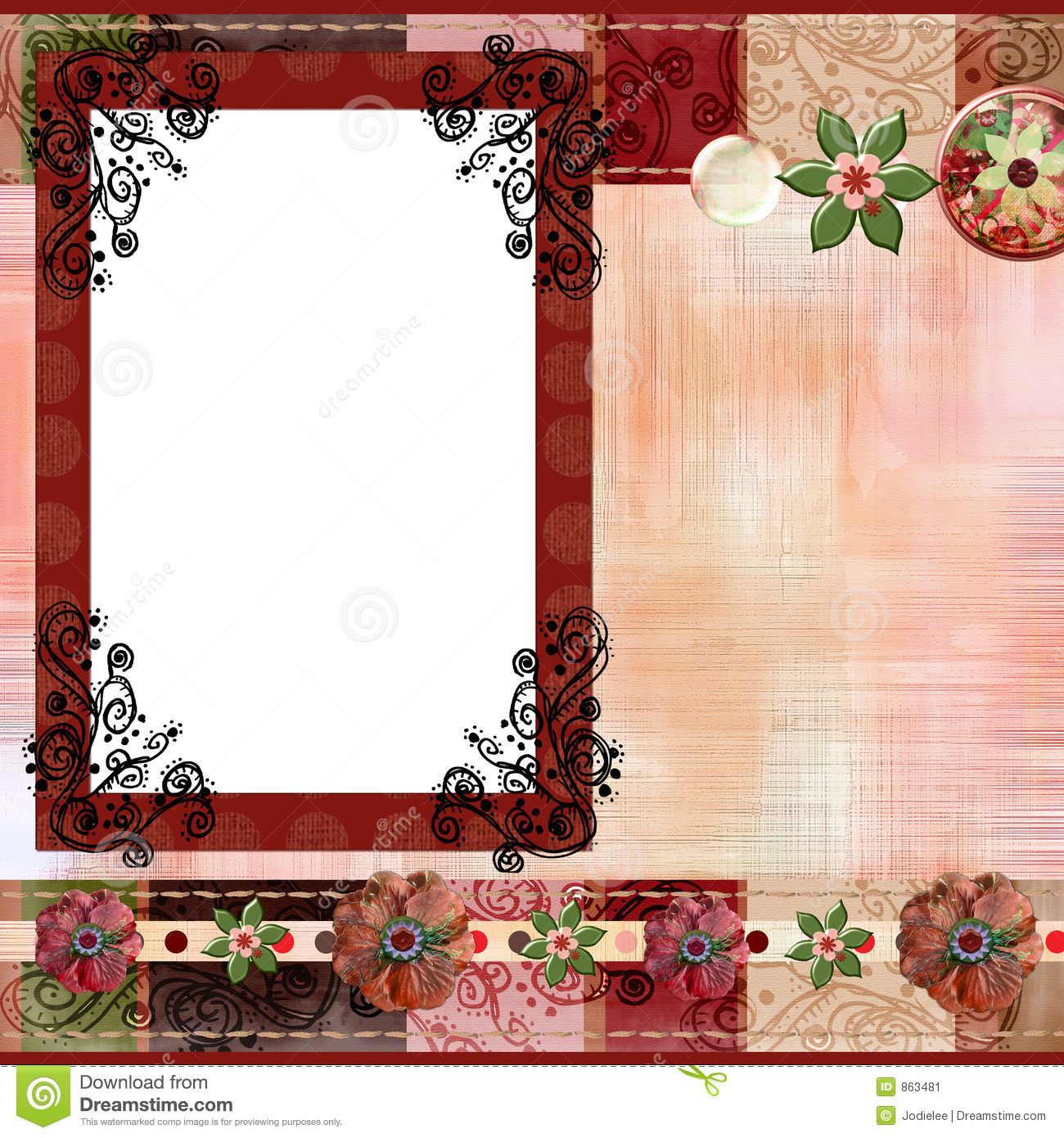 Download Bohemian Gypsy Style Scrapbook Album Page Layout 8x8 Inches Stock Image