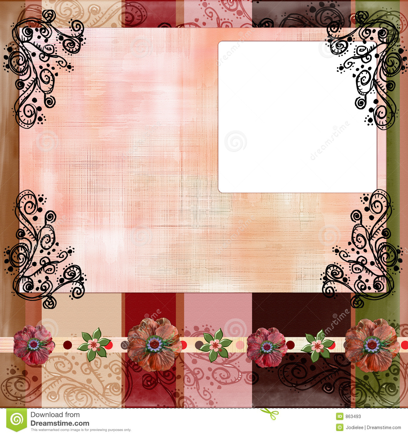 Bohemian Gypsy Style Scrapbook Album Page Layout 8X8 Inches Stock Photo 863493