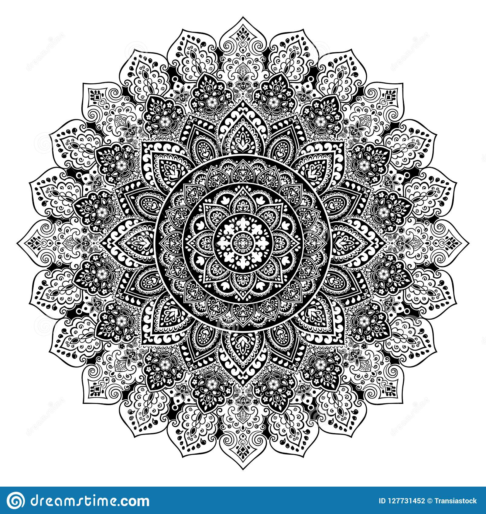 Bohemian Indian Mandala Print Vintage Henna Tattoo Style Stock