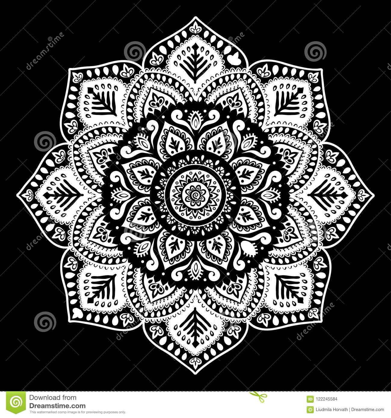 381aa3faaaaf8 Bohemian Indian Mandala towel print. Vintage Henna tattoo style Indian  medallion. Ethnic ornament could be used as shirt print, phone case print,  textile, ...