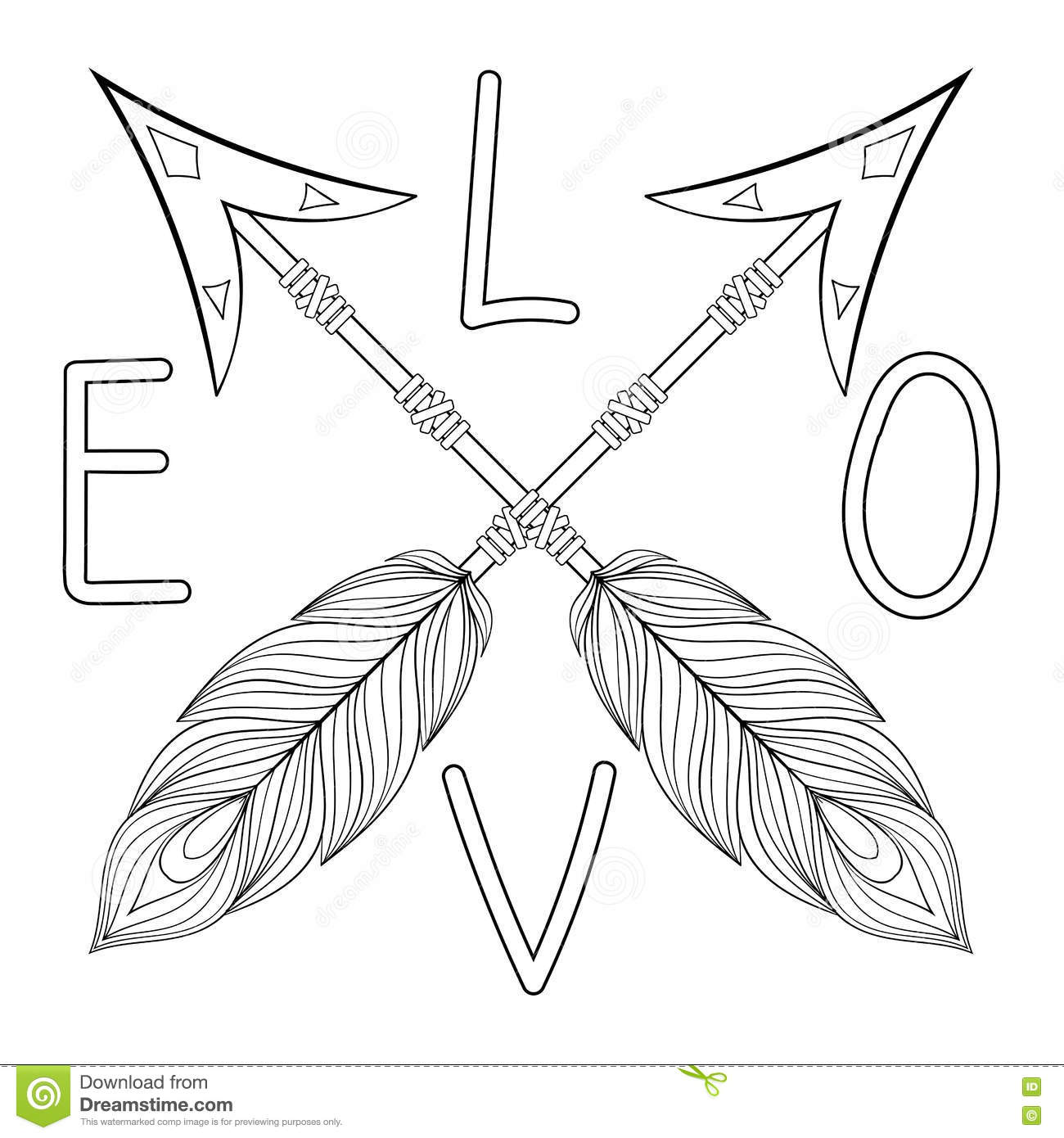 bohemian love arrow handpainted sign with feathers hand drawn
