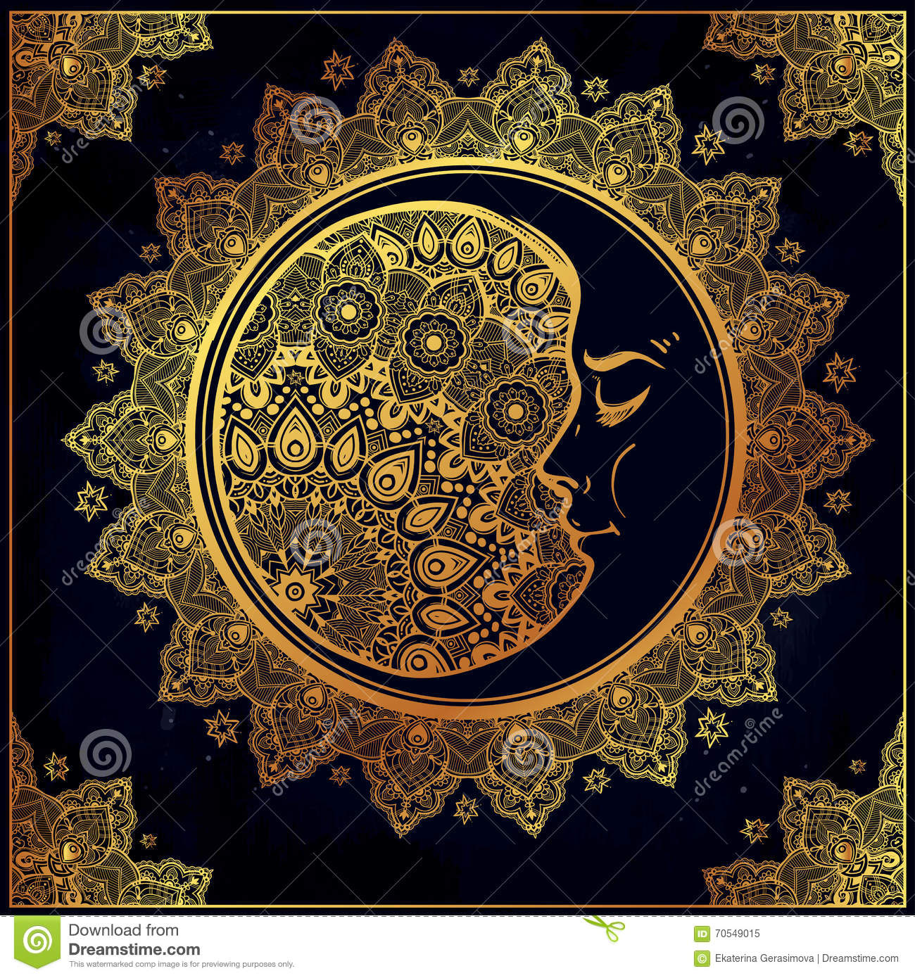 Bohemian Ornate Vector Crescent Moon. Stock Vector - Image: 70549015