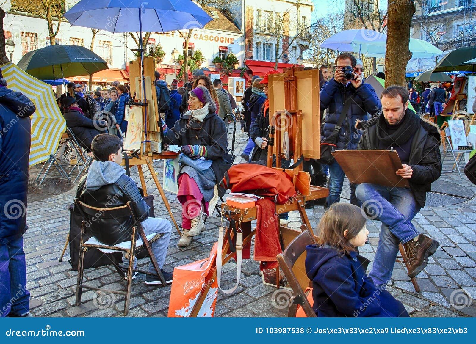 Bohemiska målare som arbetar i Paris i det Montmartre området