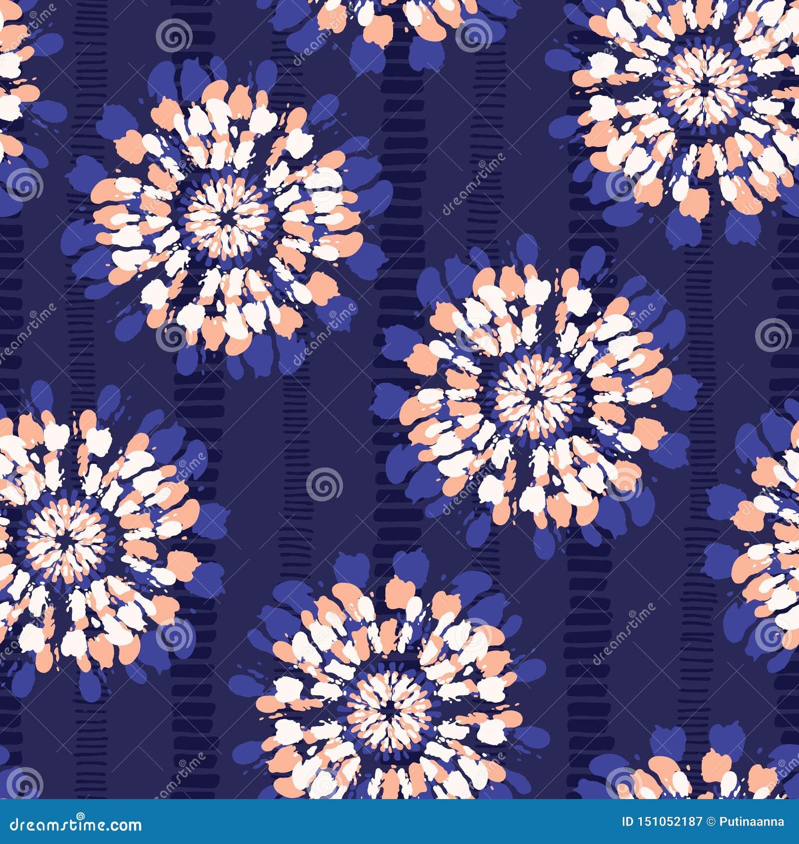 Boho barwidła Koralowy Shibori Odzwierciedlający Sunburst Kwitnie na Indygowego Pasiastego tła Wektorowym Bezszwowym wzorze
