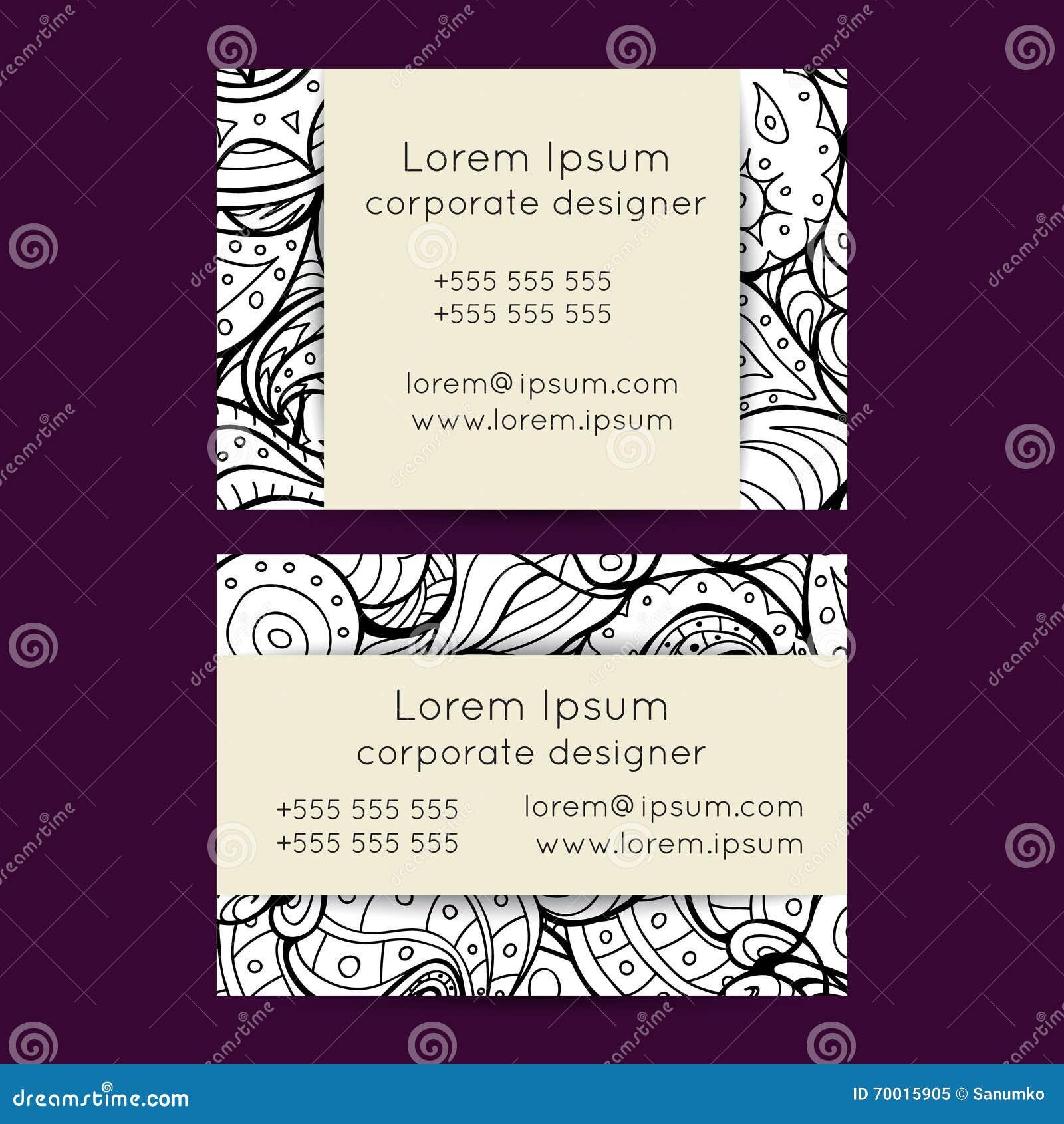Boho black and white paisley business cards templates stock vector boho black and white paisley business cards templates magicingreecefo Images