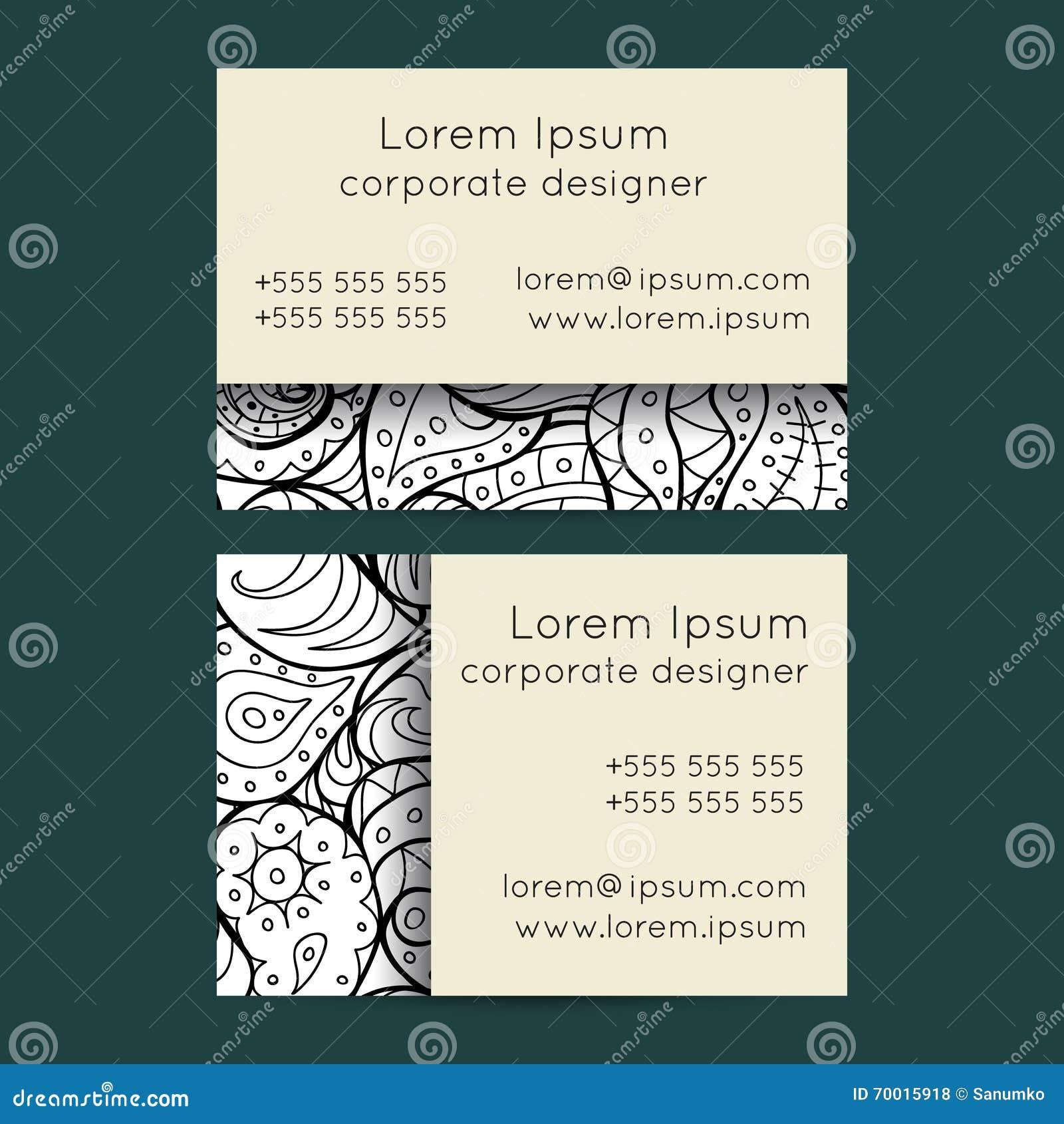 Boho Black And White Paisley Business Cards Templates Illustration ...