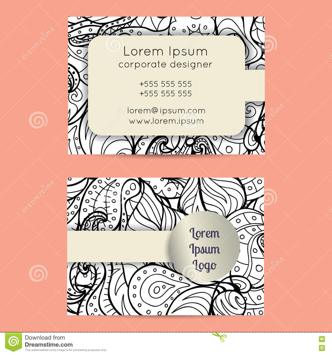Boho black and white paisley business cards templates stock vector royalty free vector download boho black and white paisley business cards magicingreecefo Images