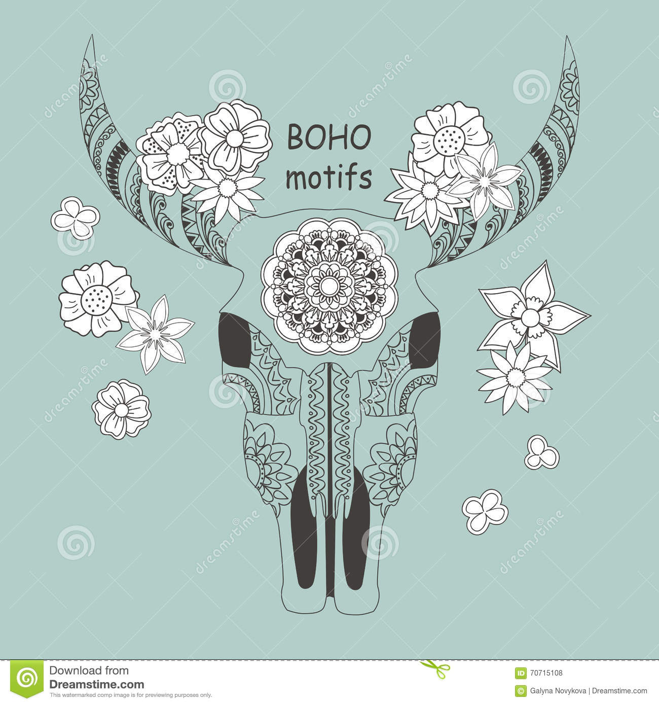 Boho Card With Cow Skull And Flowers Stock Vector Illustration Of