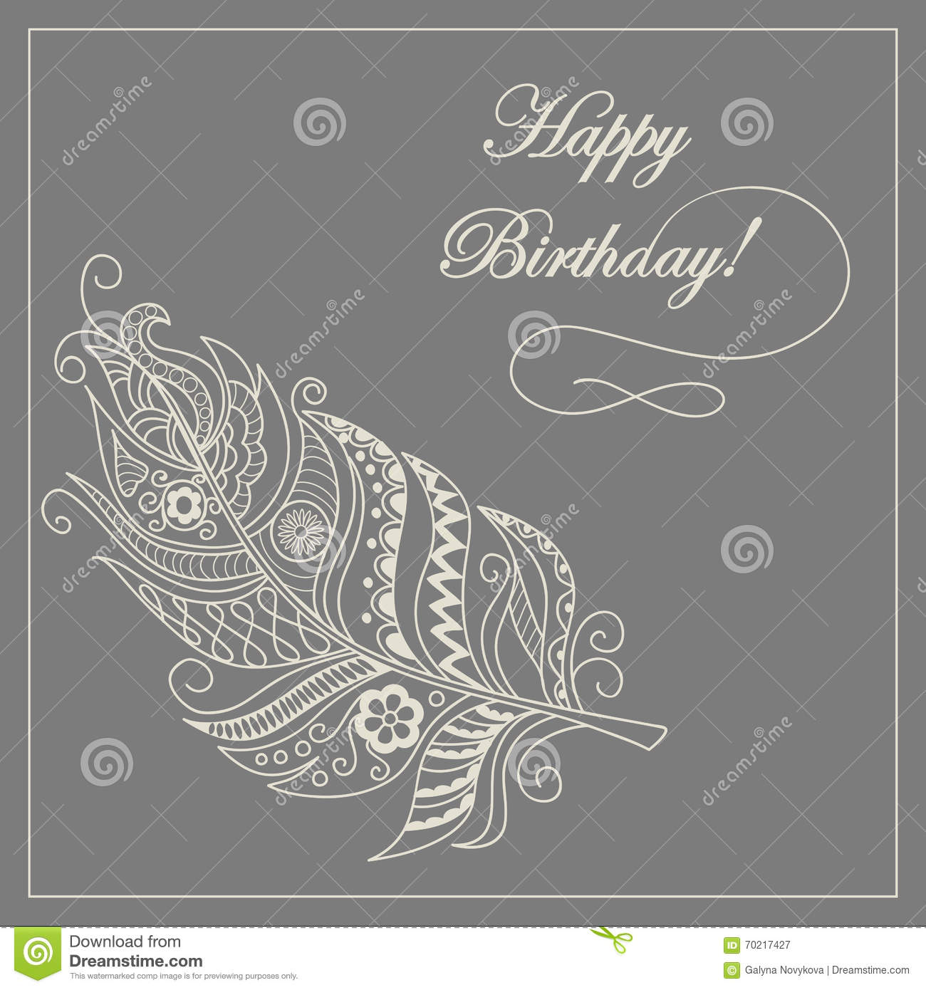 Boho Card Happy Birthday Stock Vector Illustration Of Feather