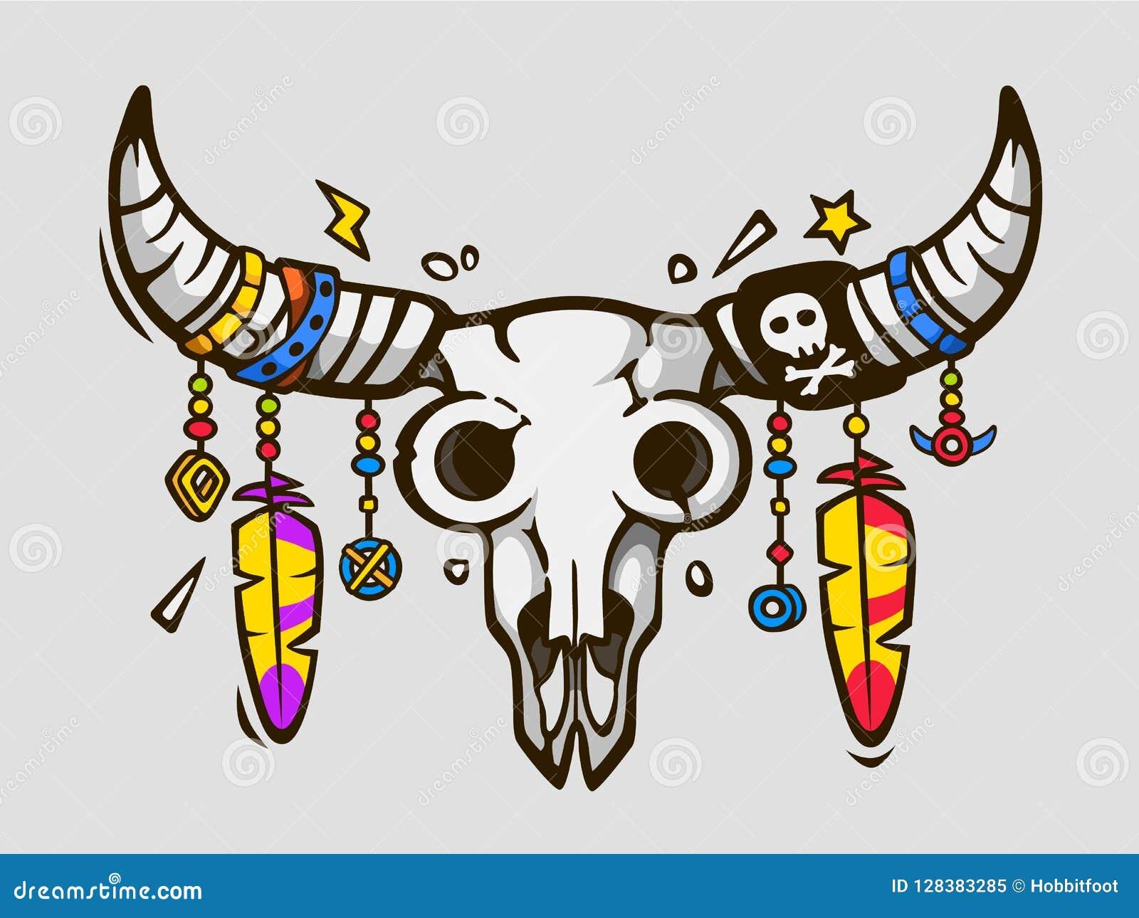 Boho chic Style ethnique de tatouage Crâne de taureau de natif américain ou de Mexicain avec des plumes sur des klaxons
