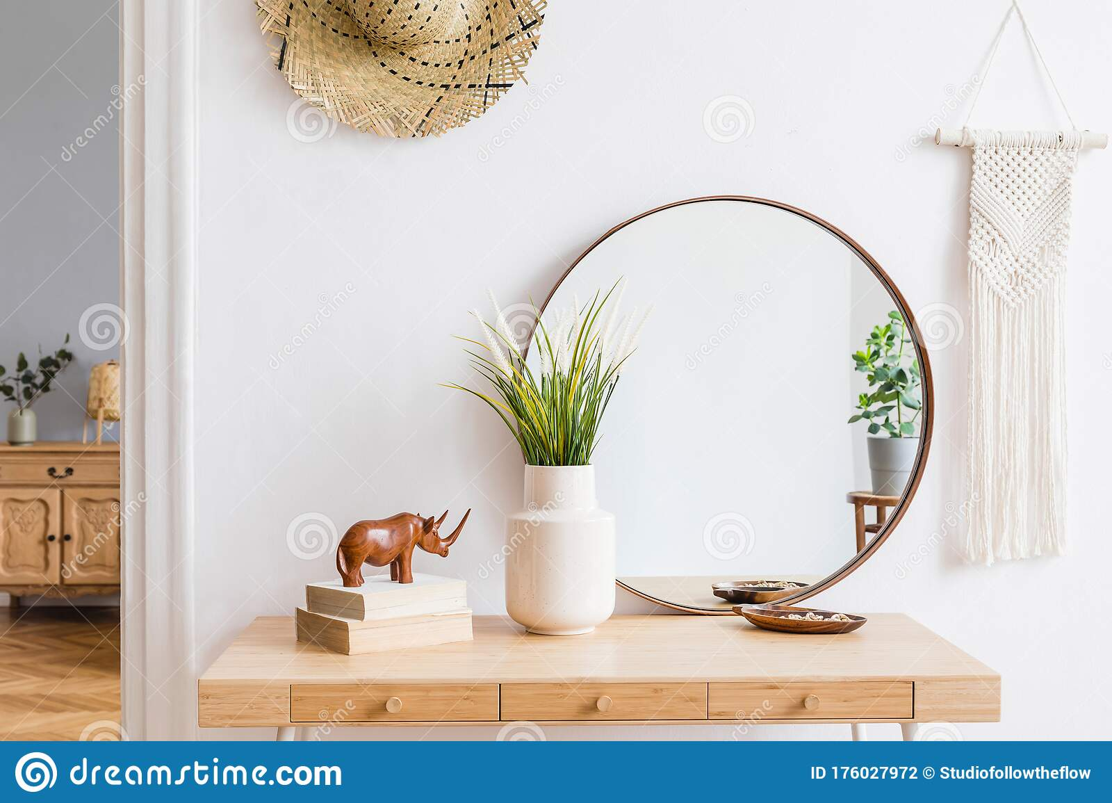 Boho Interior Design Of Home Office With Large Round Mirror Stock Photo Image Of Close Flat 176027972
