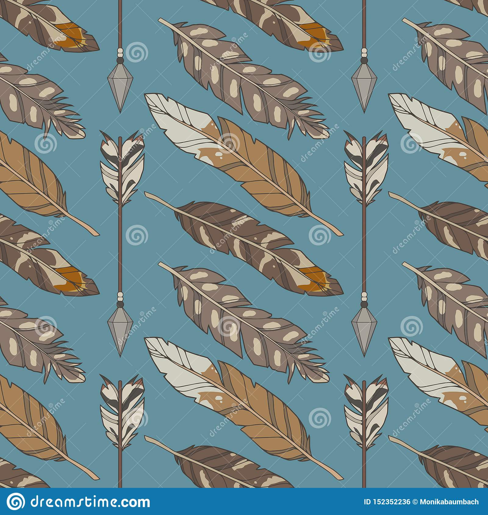 Boho del ejemplo gráfico azul y modelo inconsútiles del ethno con las plumas y las flechas naturales del águila