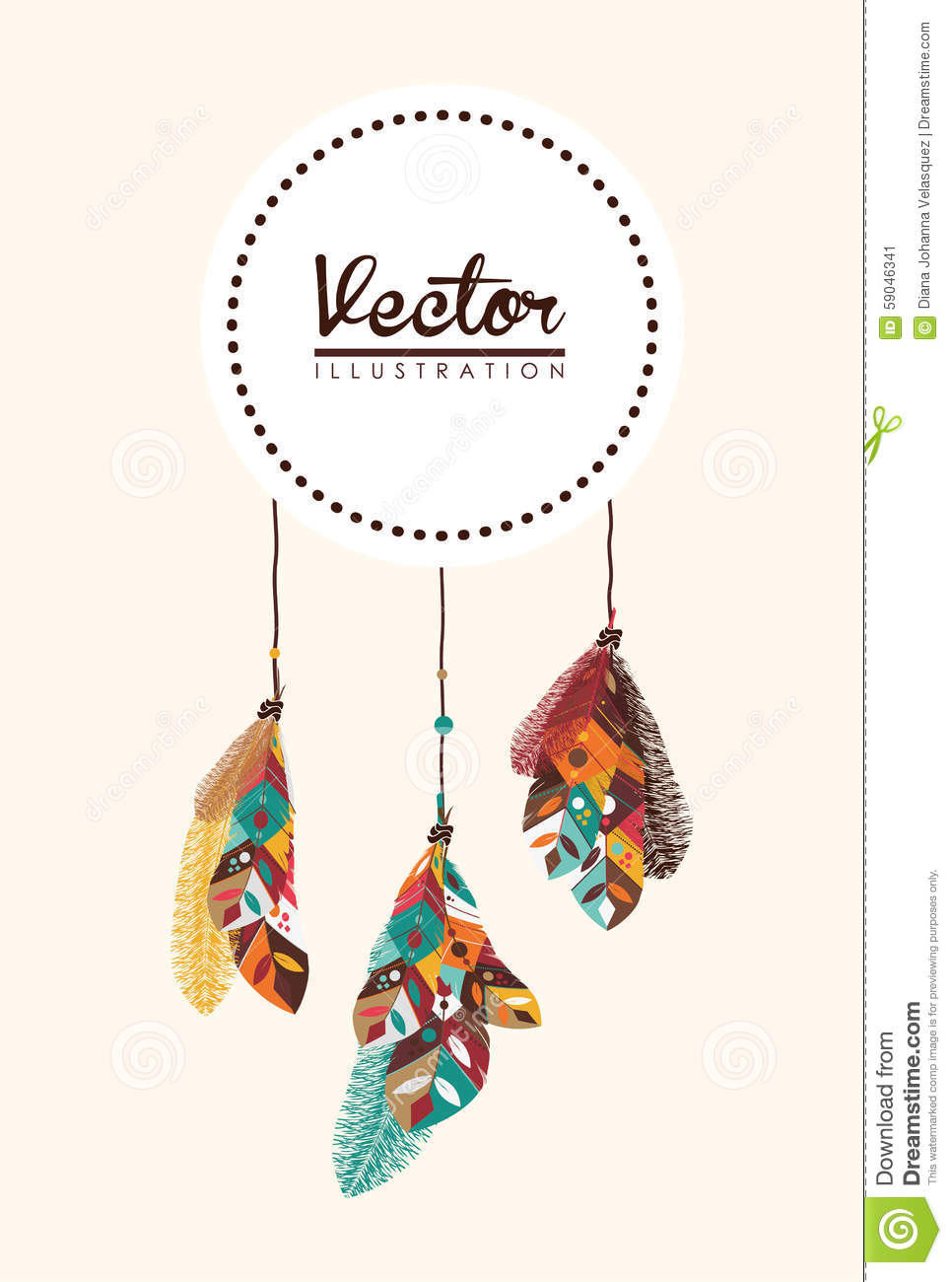 Boho Design Stock Vector Image Of Feather Retro Pattern