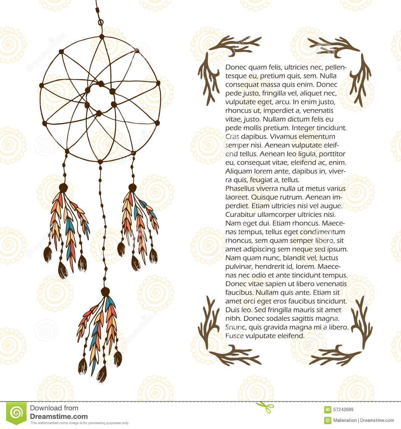 boho dream catcher vector illustration in ethnic style design