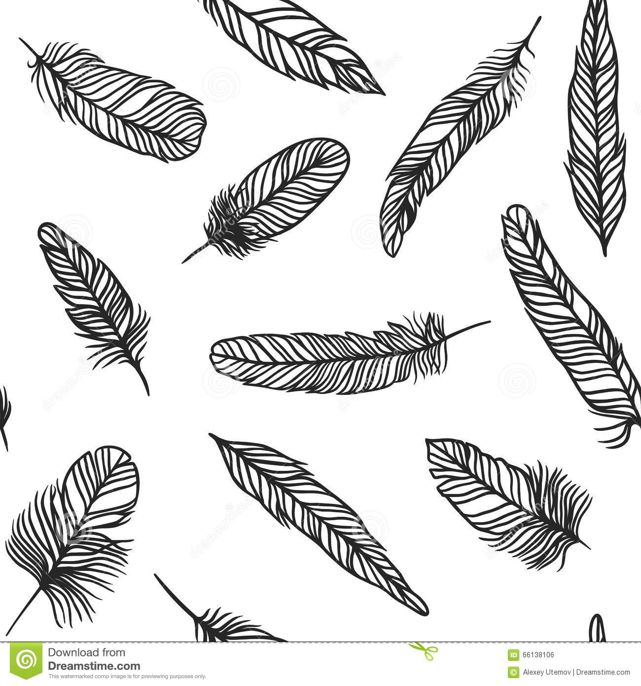 Boho Feather Hand Drawn Effect Vector Style Seamless Pattern ...