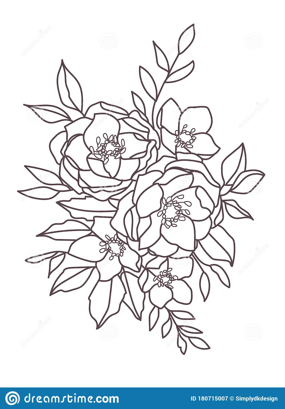 Boho Flowers And Foliage One Medium Black And White Peony Bouquet With Leaves Stock Vector Illustration Of Medium Beautiful 180715007