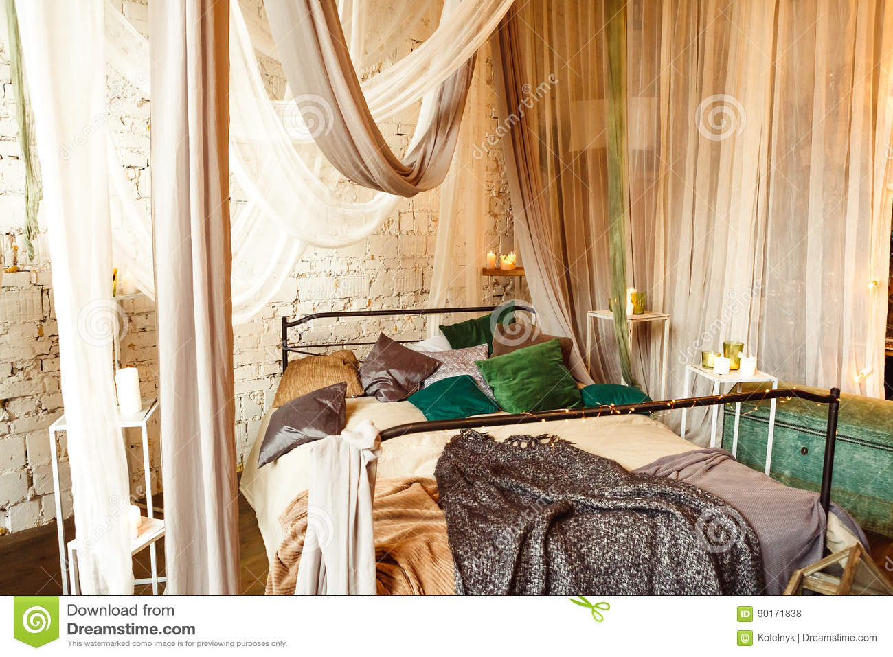 Boho Interior Bedroom With Curtains