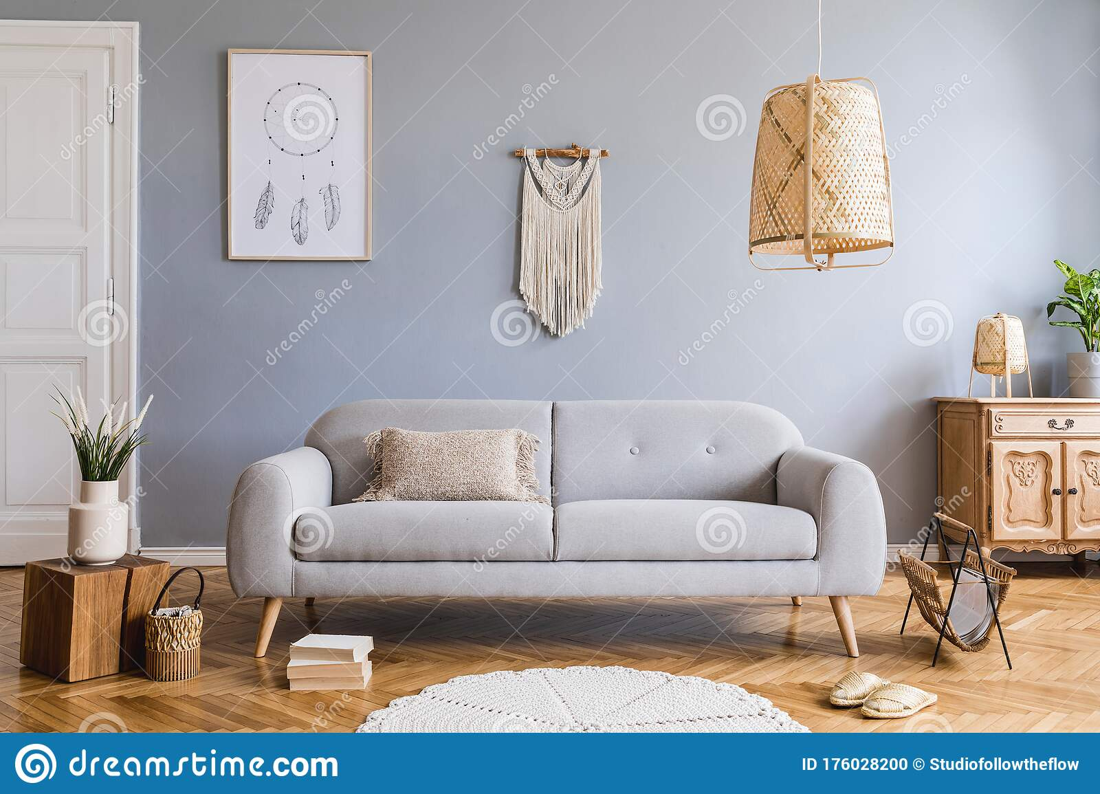 Boho Living Room With Grey Sofa And Natural Accessories Cosy Home Decor Stock Photo Image Of Home Accessories 176028200