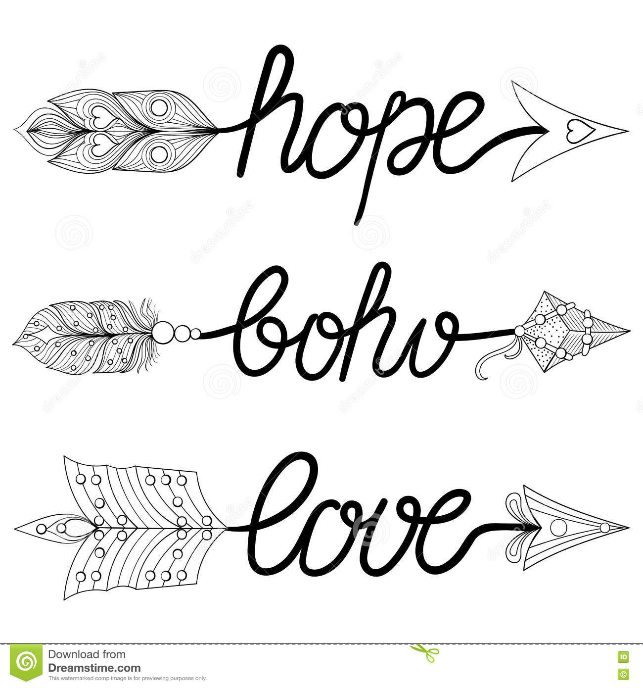 Boho Love Hope Arrows Hand Drawn Signs With Feathers Decorative