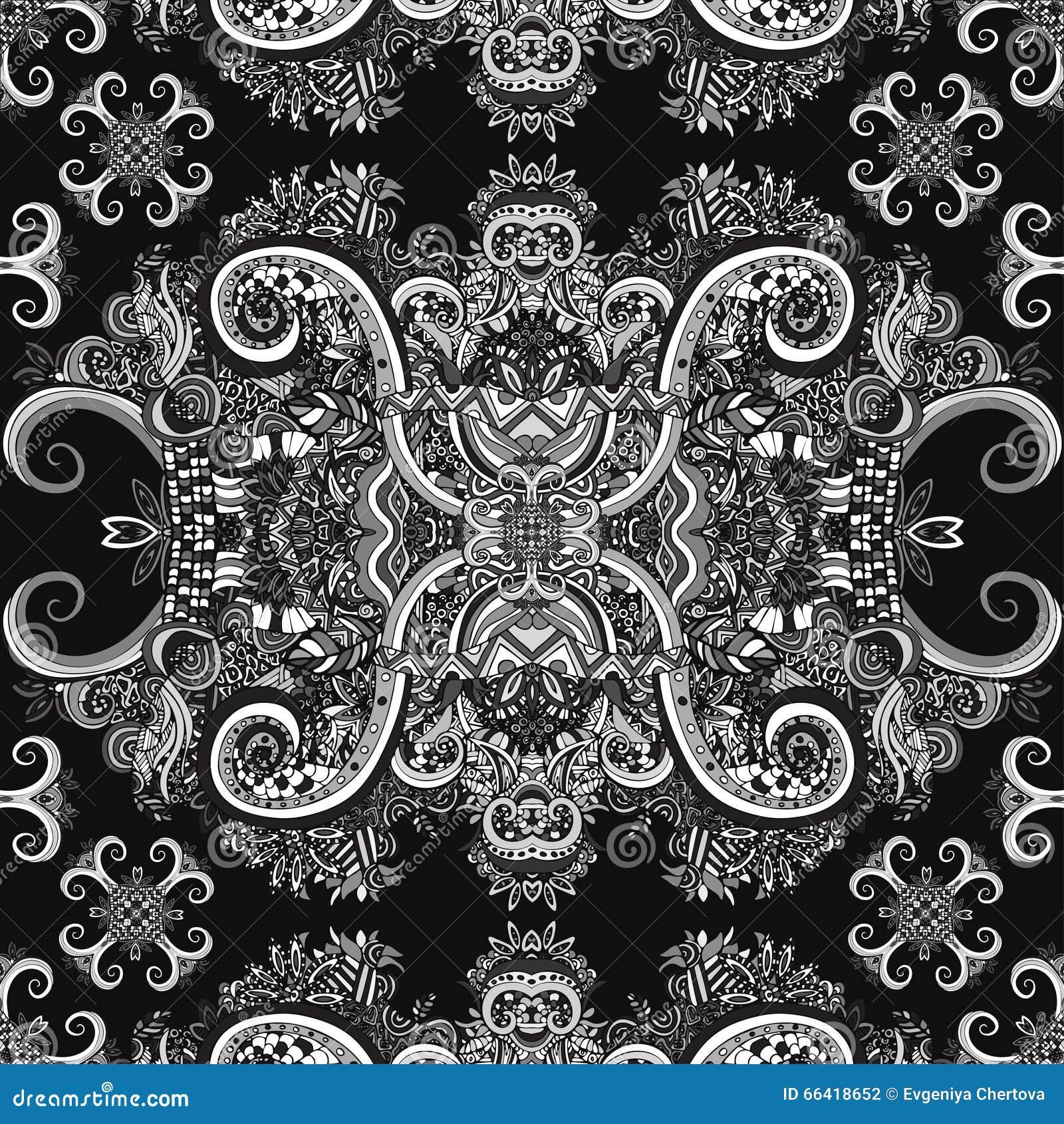 Boho Ornament Texture Monochrome Ethnic Black And White