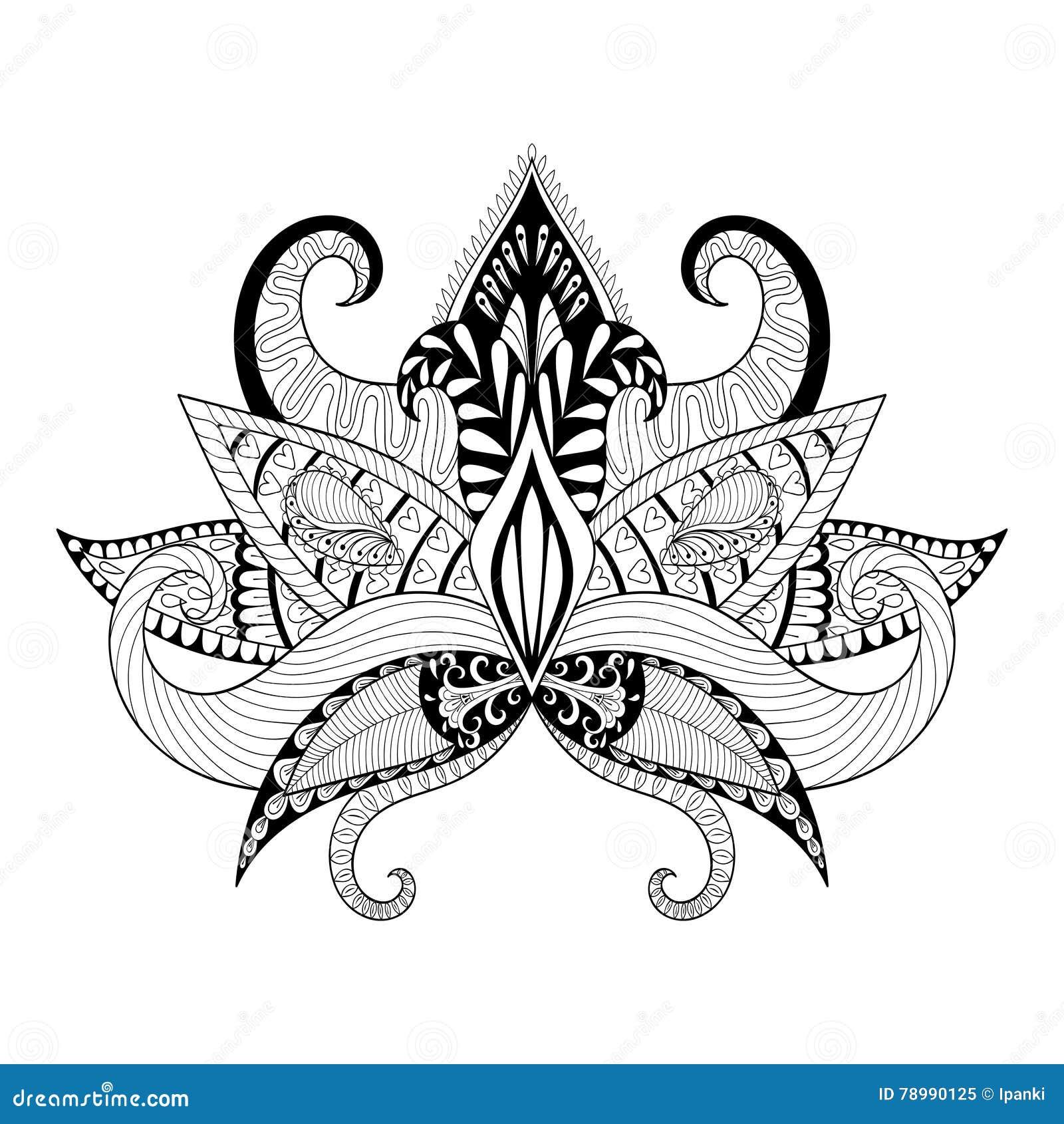 Boho ornamental lotus flower blackwork tattoo design stock vector download boho ornamental lotus flower blackwork tattoo design stock vector illustration of drawing mightylinksfo